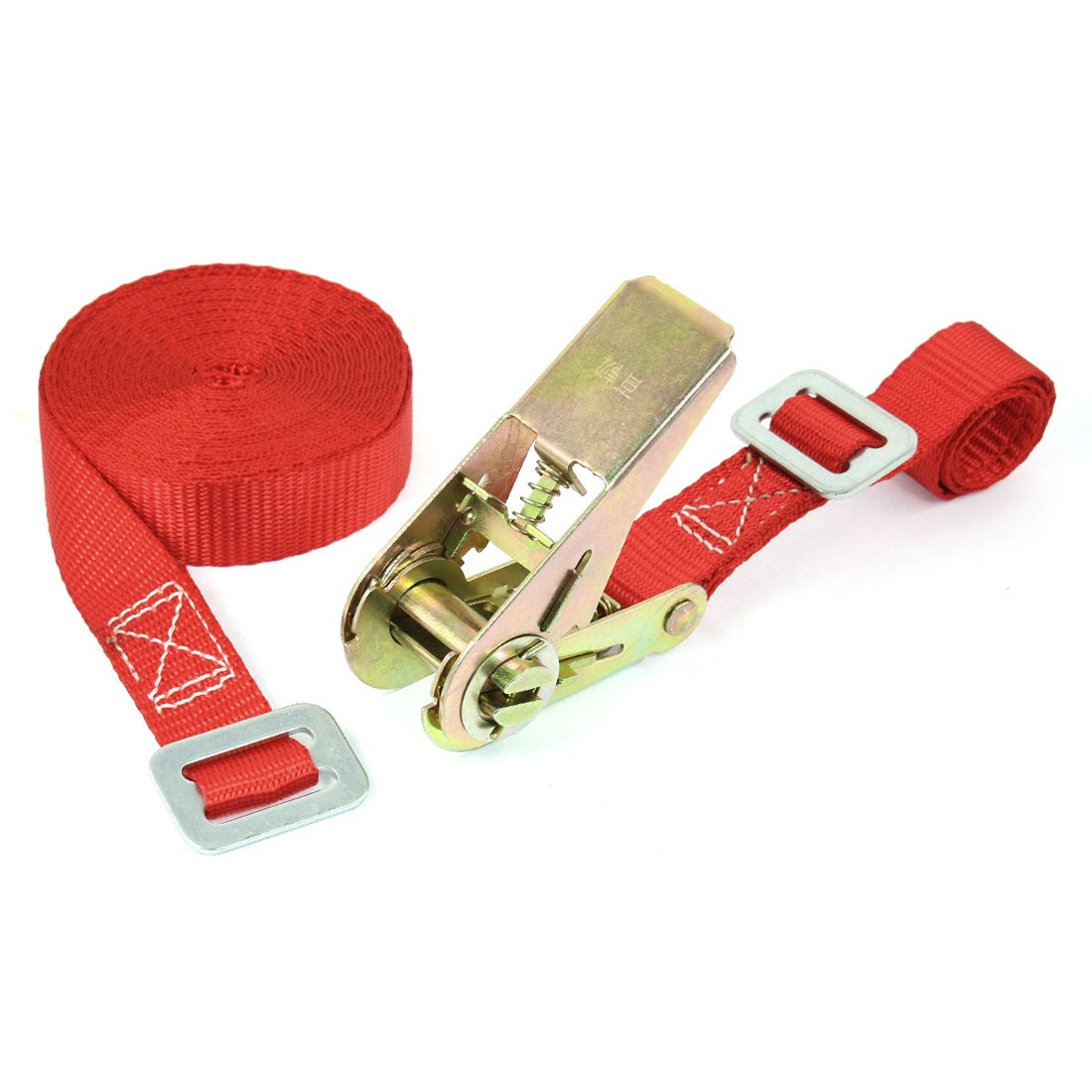 Travel Luggage Binding Adjustable Metal Ratchet Tie Down Strap 5M 16ft Red