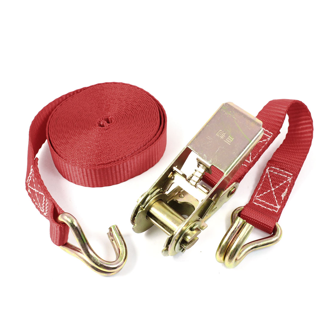 Dual Metal Hooks Cargo Binding Band Ratchet Tie Down Strap 5M 16ft Red