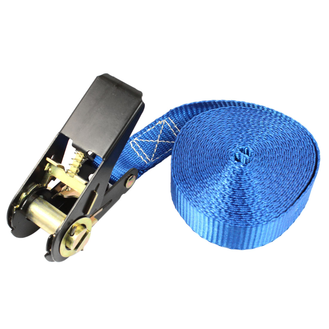 Travel Cargo Binding Band Black Ratchet Tie Down Strap 5M 16ft Blue