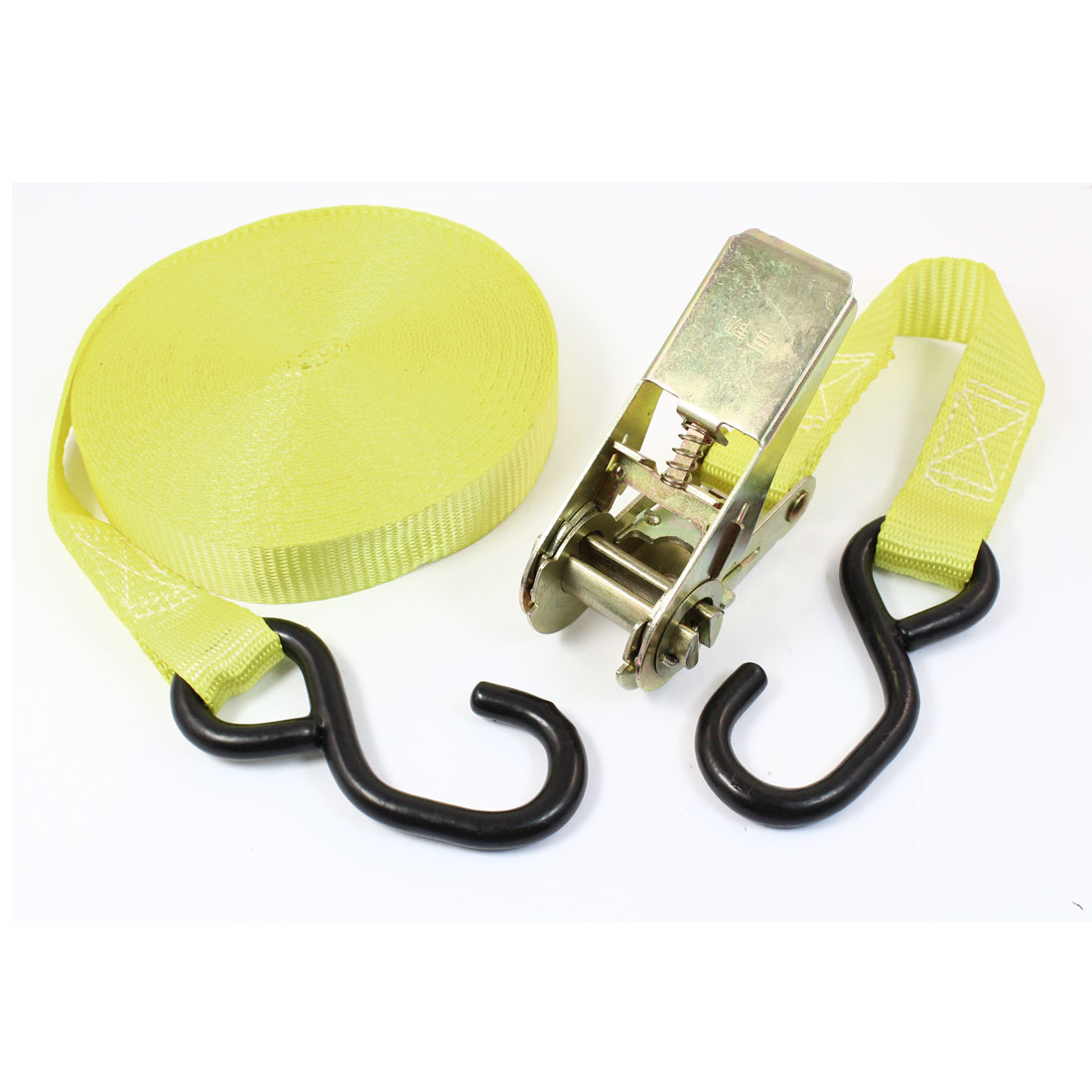 S Shape Metal Hook Cargo Binding Ratchet Tie Down Strap 10M 33ft Yellow