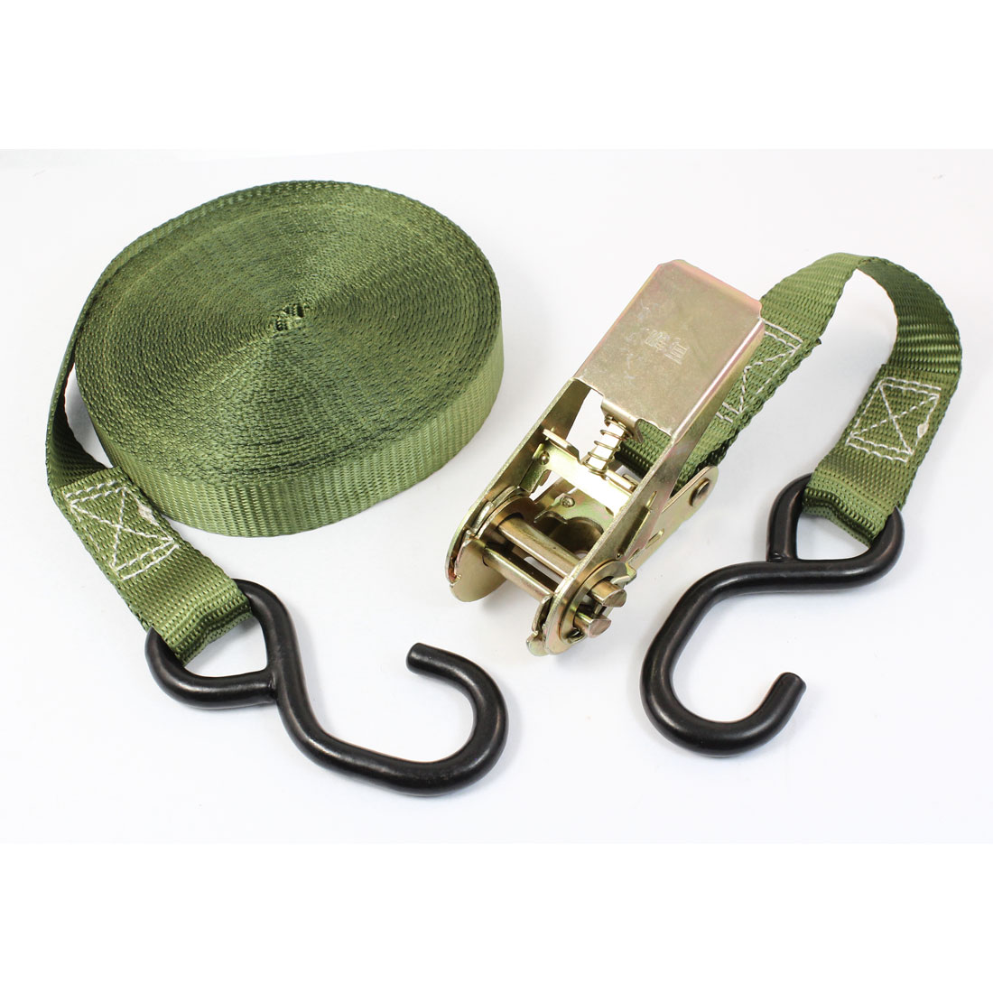 S Shape Metal Hook Cargo Binding Ratchet Tie Down Strap 10M 33ft Green