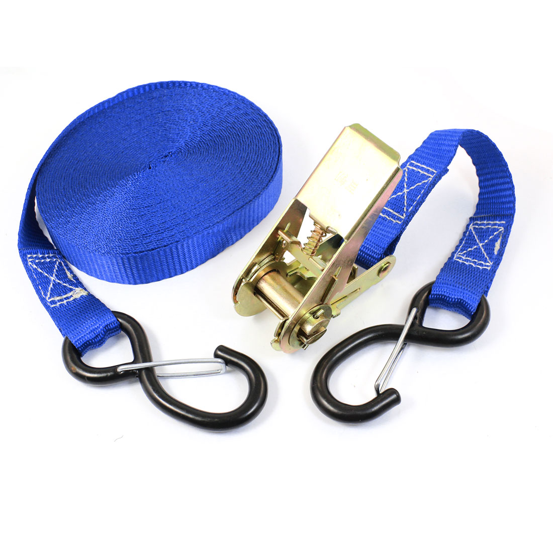 S Shape Metal Hook Cargo Binding Band Ratchet Tie Down Strap 10M 33ft Blue