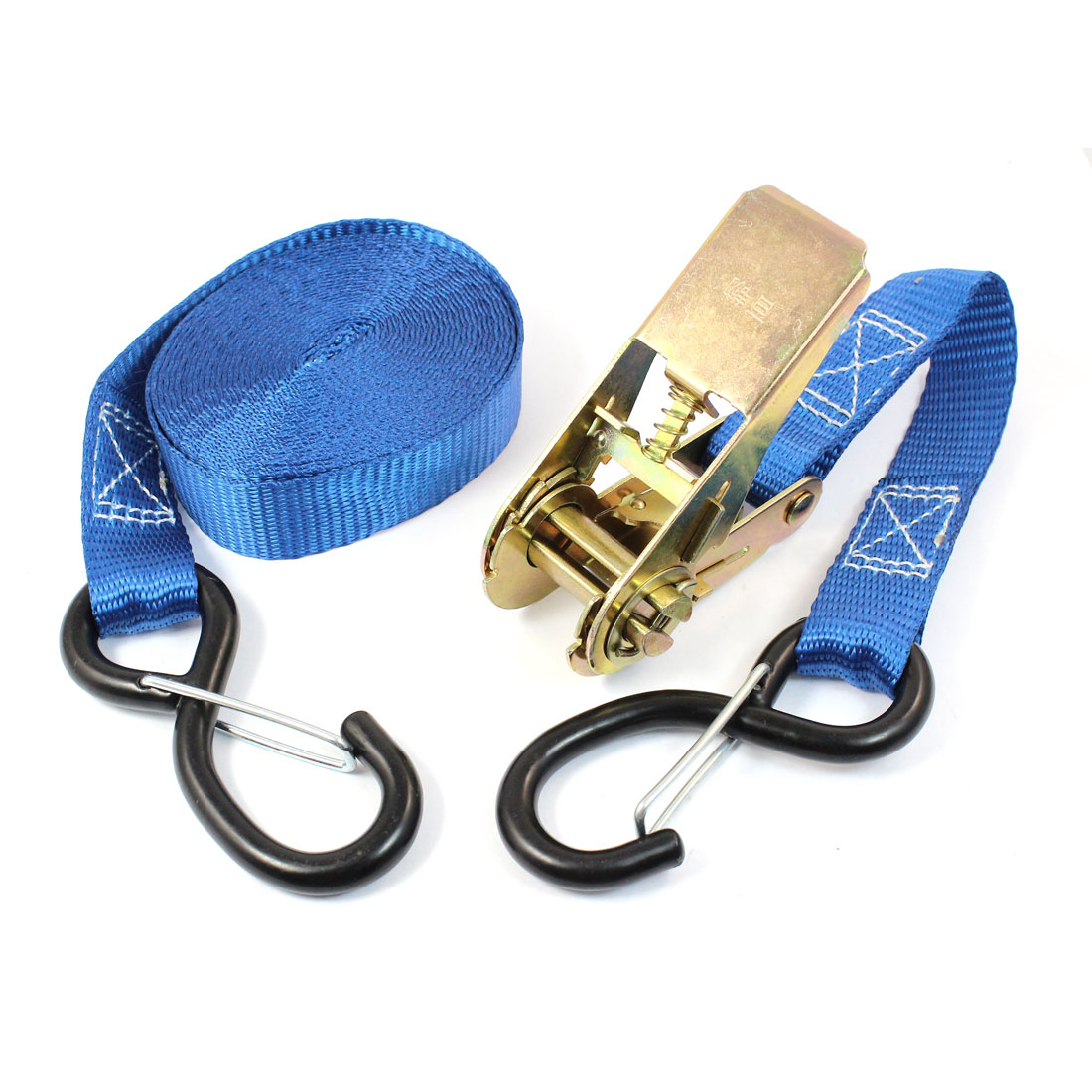 S Shape Metal Hook Cargo Binding Band Ratchet Tie Down Strap 5M 16ft Blue
