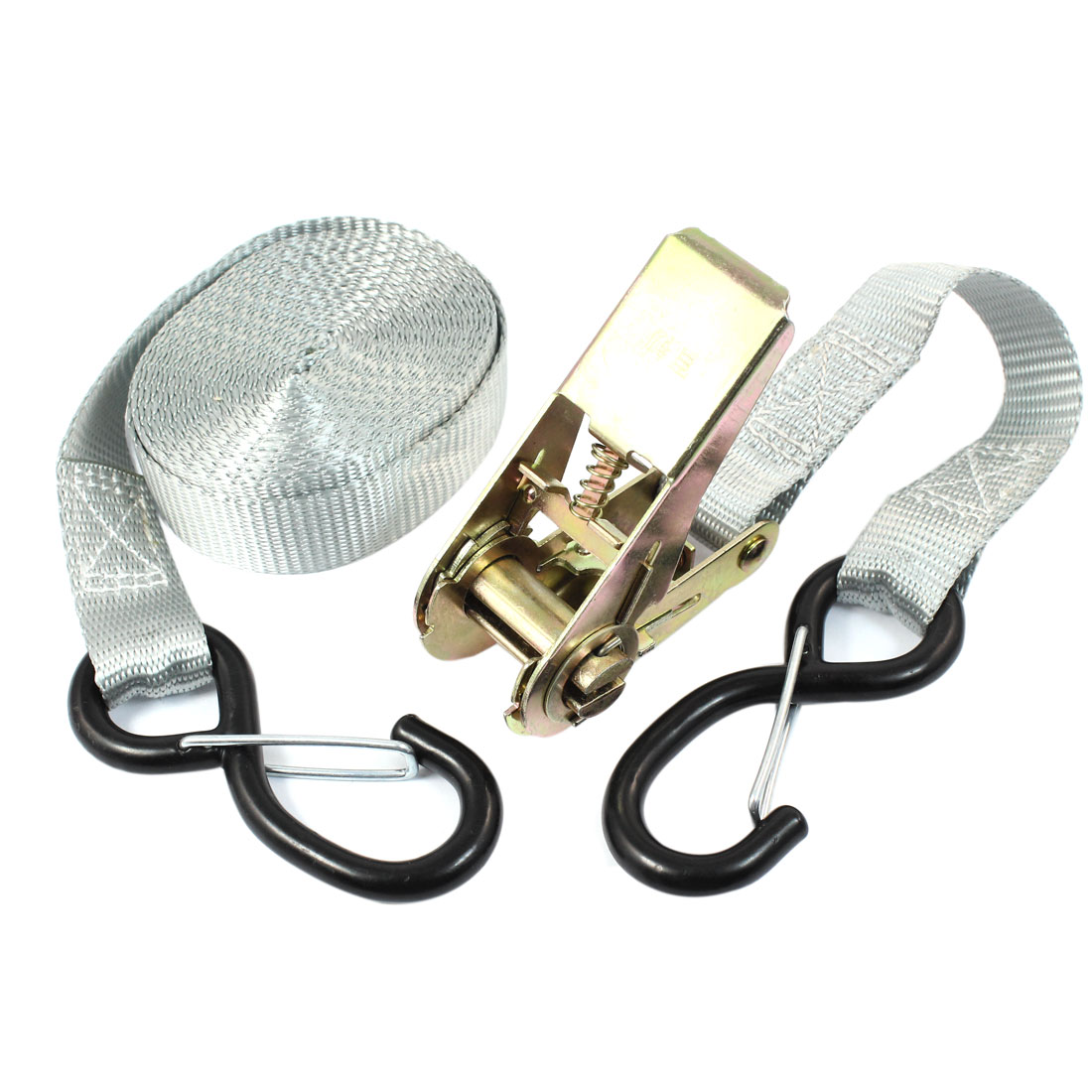 S Shape Metal Hook Cargo Binding Band Ratchet Tie Down Strap 5M 16ft Gray