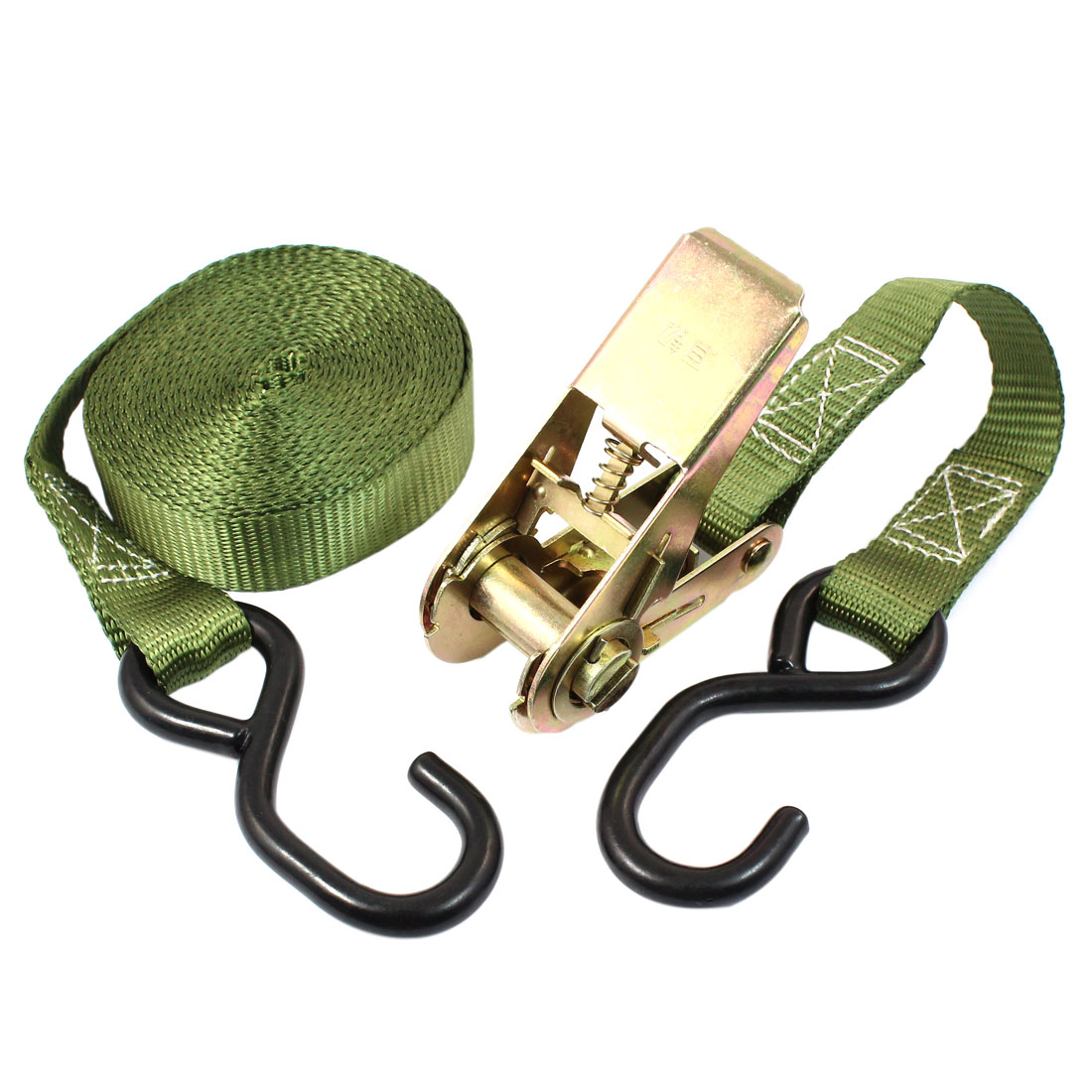 S Shape Metal Hook Cargo Binding Band Ratchet Tie Down Strap 5M 16ft Green