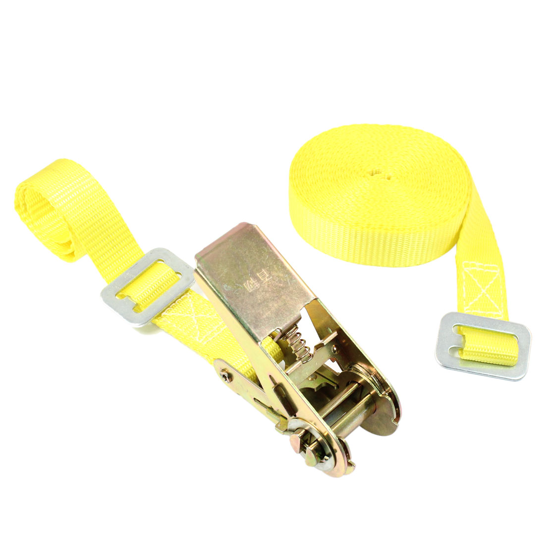 Travel Luggage Binding Adjustable Metal Ratchet Tie Down Strap 5M 16ft Yellow