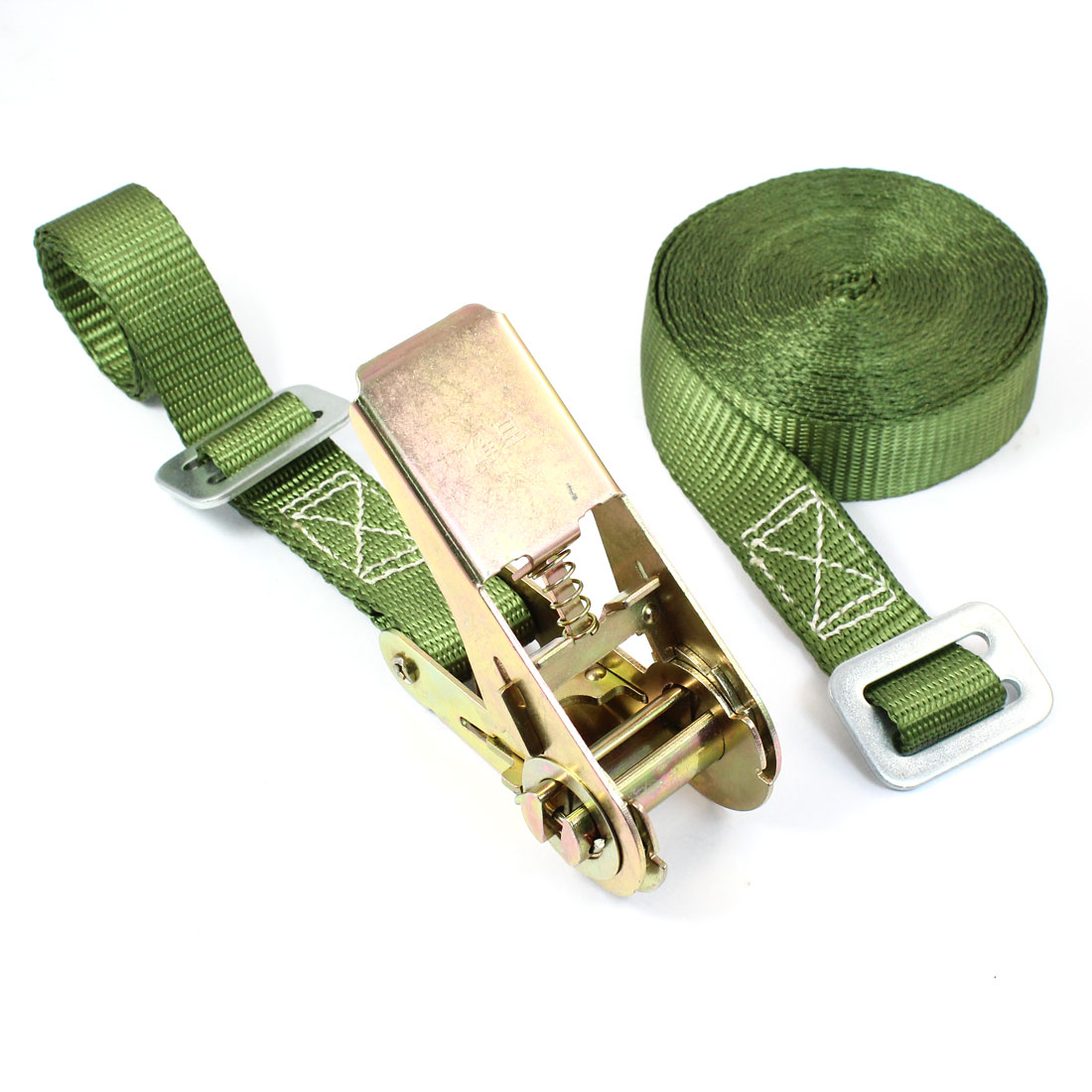 Travel Luggage Binding Adjustable Metal Ratchet Tie Down Strap 5M 16ft Green