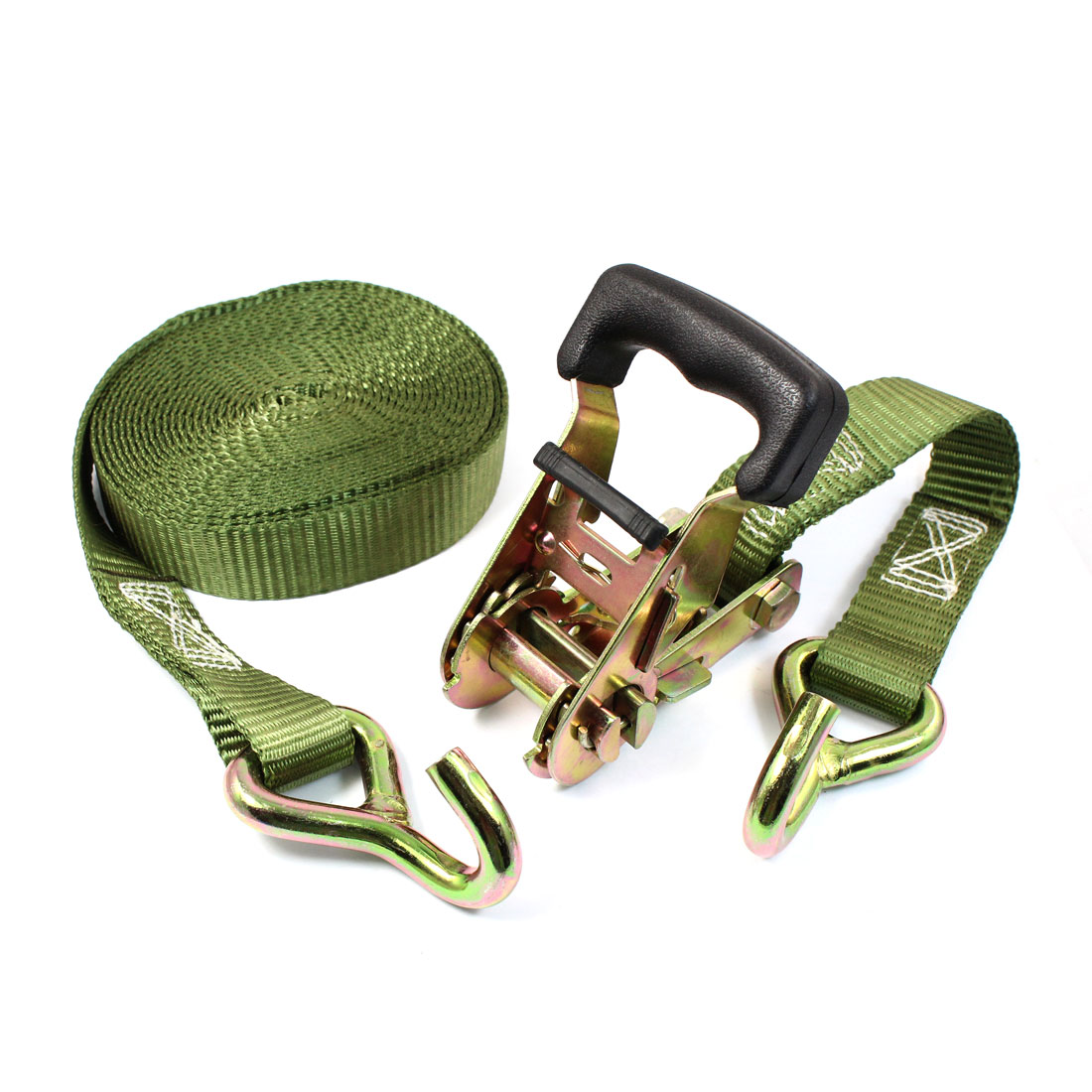 Truck Cargo Binding Metal Hook Ratchet Tie Down Strap 5M 16ft Green