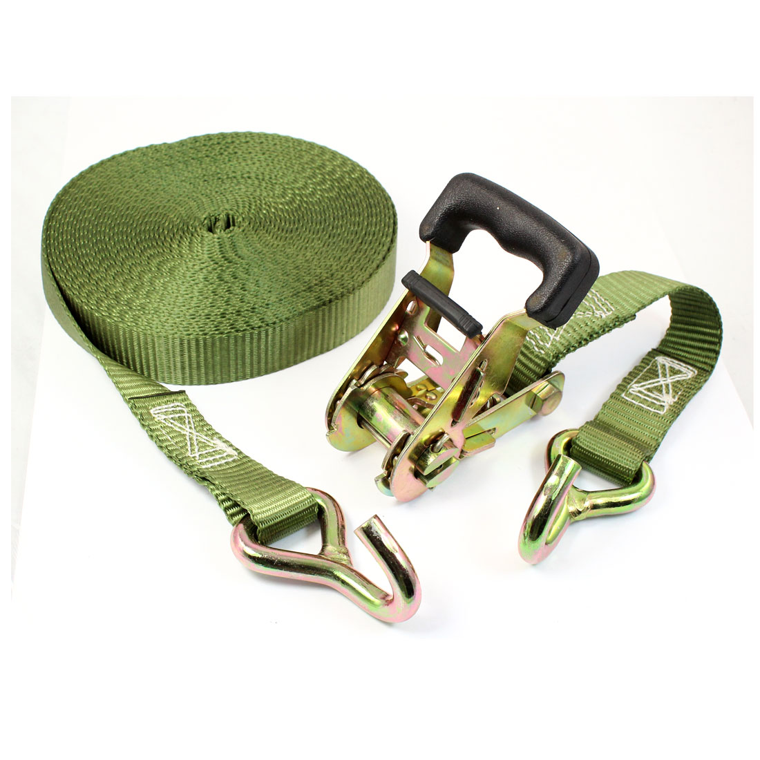 Truck Cargo Binding Metal Hook Ratchet Tie Down Strap 10M 33ft Green