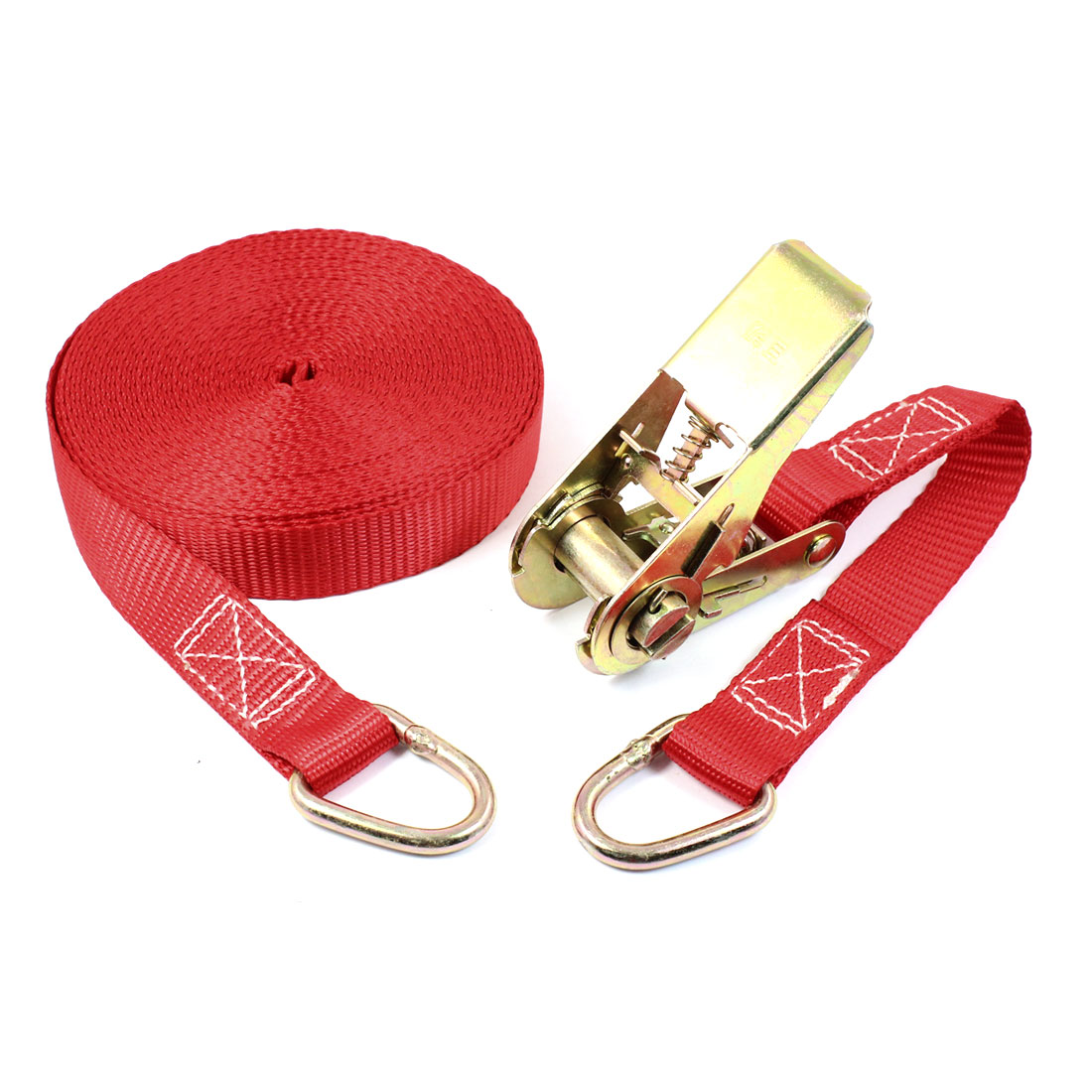 Metal D Shape Loop Cargo Binding Ratchet Tie Down Strap 10M 33ft Red