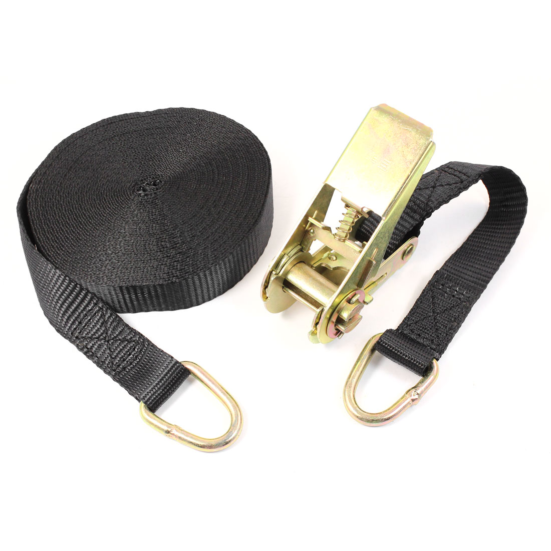 Metal D Shape Loop Cargo Binding Ratchet Tie Down Strap 10M 33ft Black