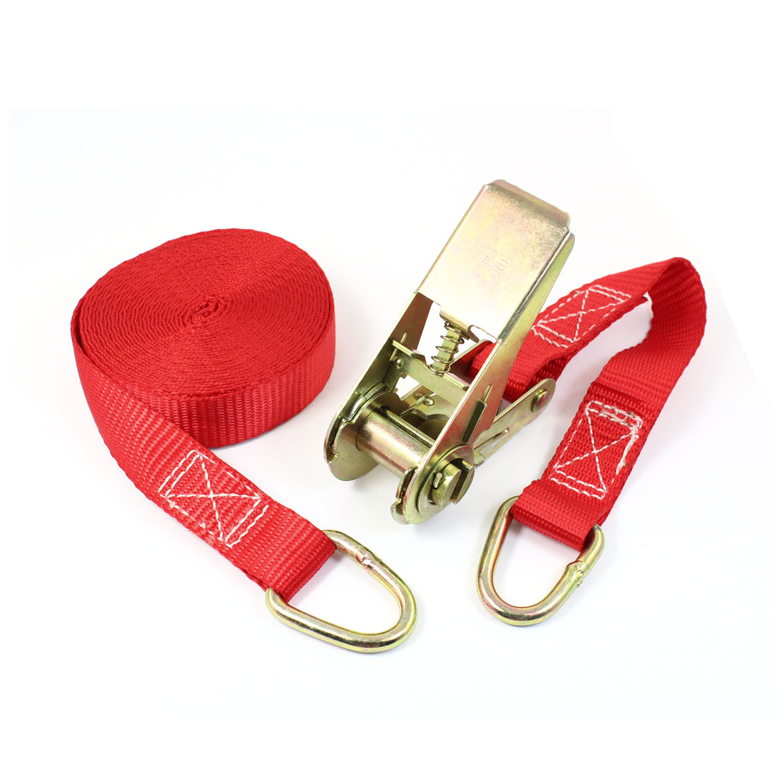 Metal D Shape Loop Cargo Binding Ratchet Tie Down Strap 5M 16ft Red