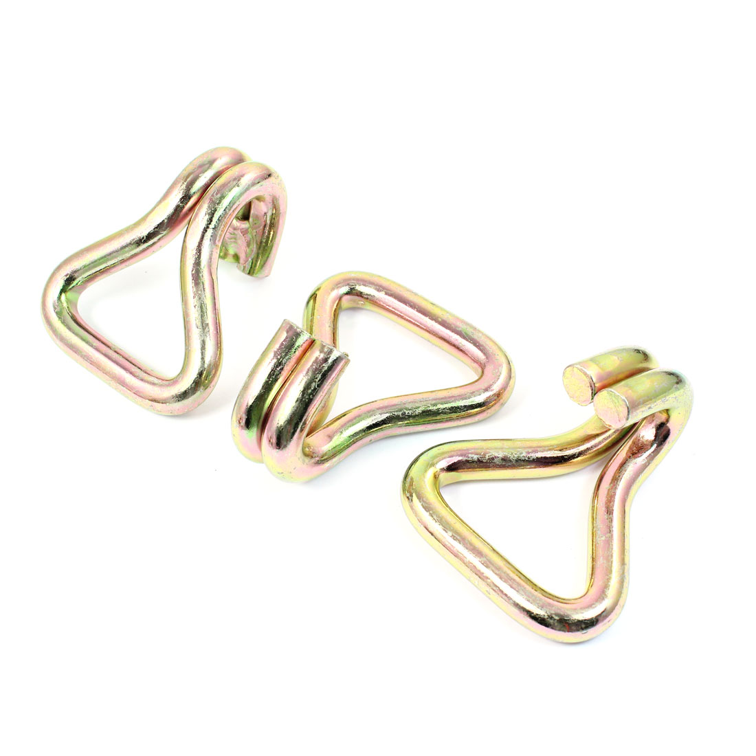3PCS 50mm Bundling Webbing Bronze Tone Metal Double Fixed Eye Hooks