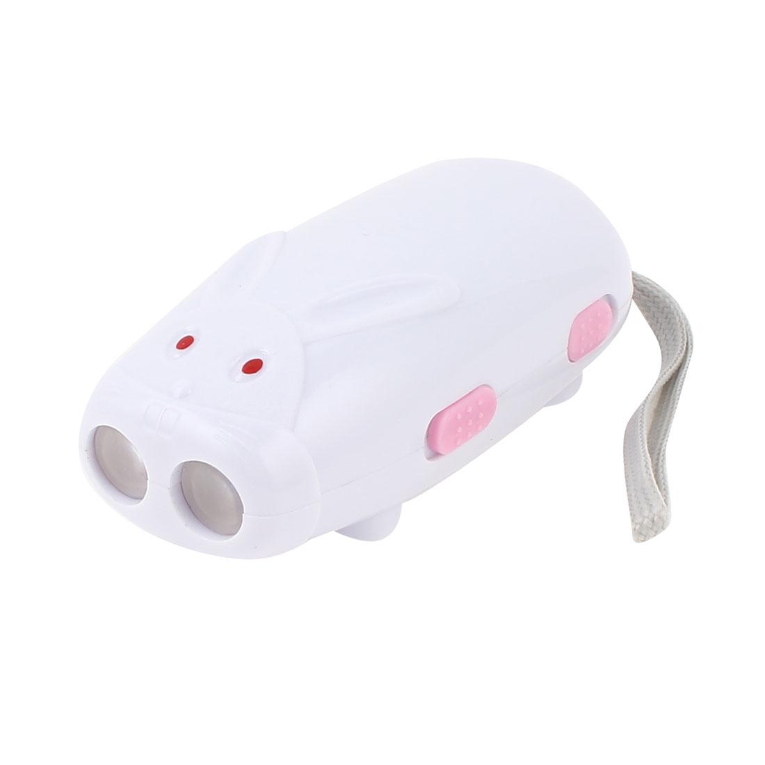 Rabbit Deisgn 2 LED Flashlight Hand Press Wind Crank No Battery Torch White