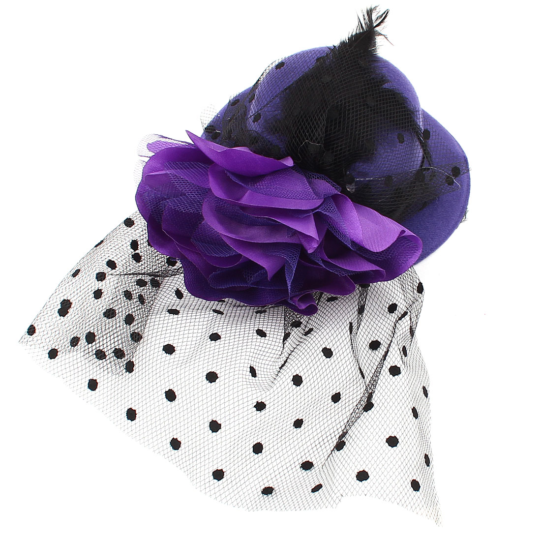 Ladies Mini Top Hat Black Feather Flower Detail Mesh Costume Hair Clip Purple