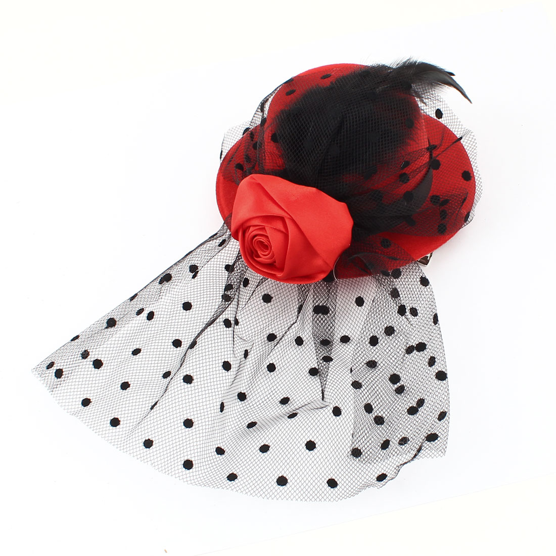 Ladies Mini Top Hat Black Feather Flower Detail Mesh Costume Hair Clip Red