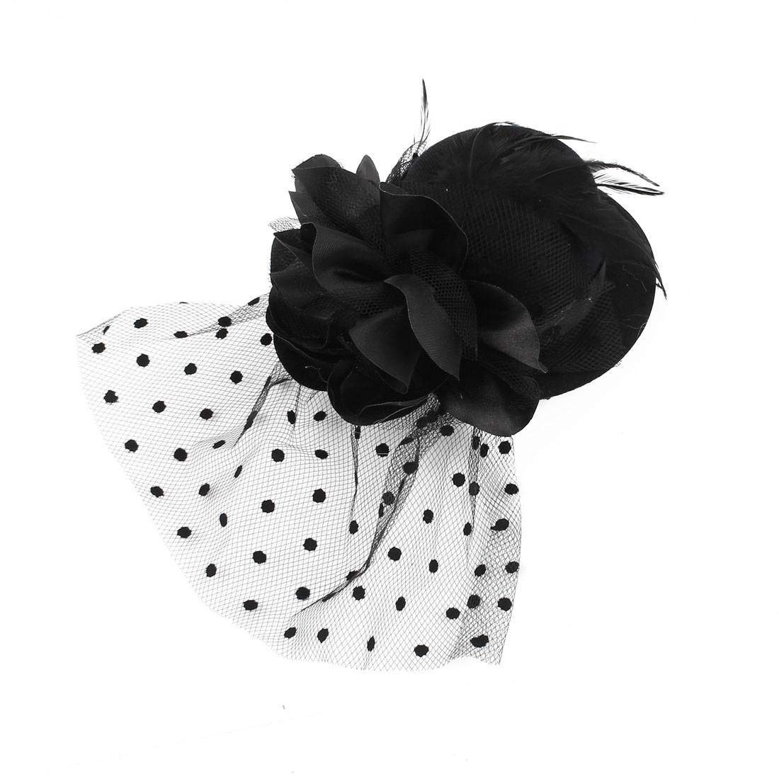 Ladies Mini Top Hat Feather Flower Detail Mesh Costume Hair Clip Black