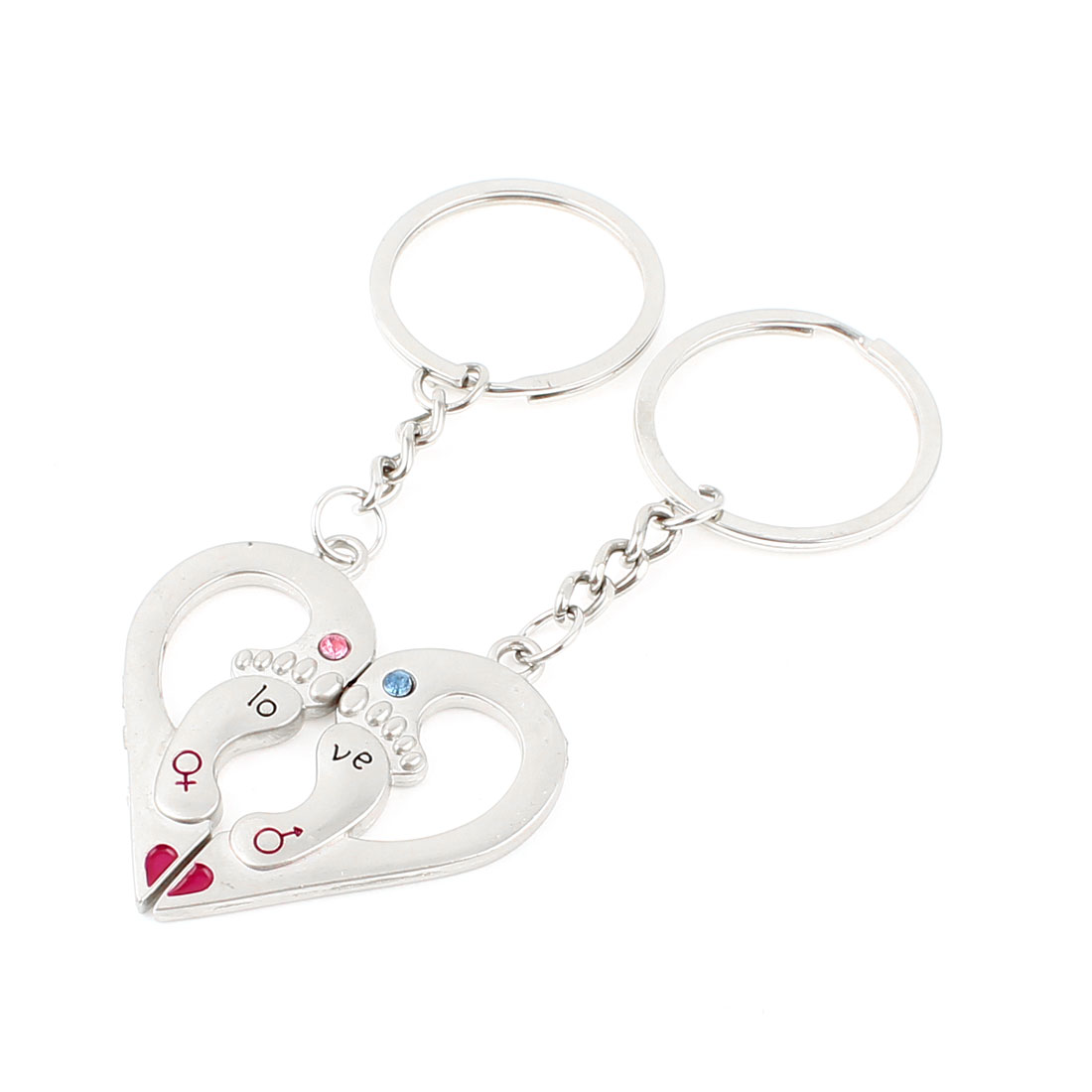 "Couple 3.7"" Long Footprint Detail Love Heart Pendant Key Chain Silver Tone Pair"