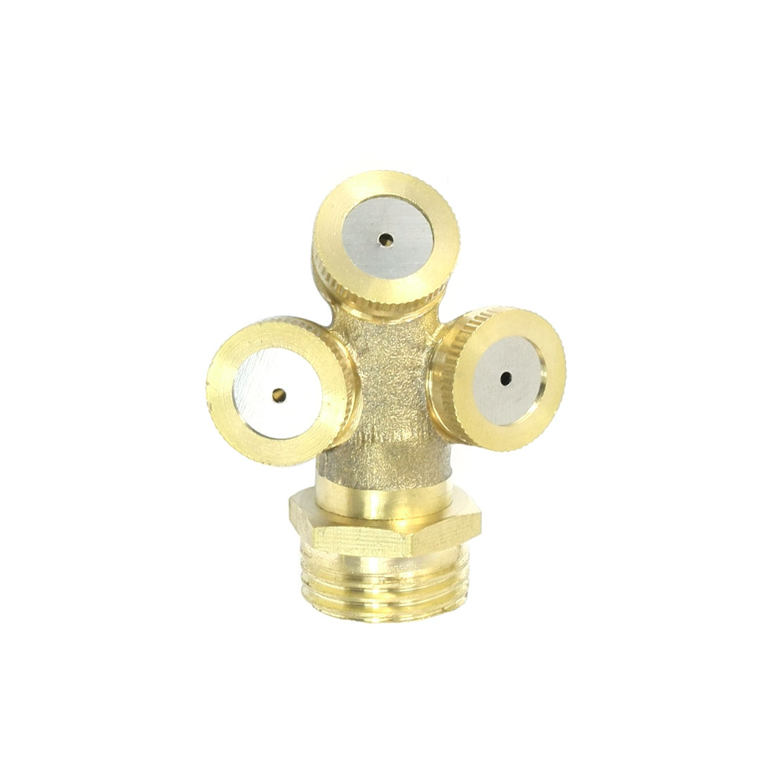 Gardening 21mm Male Thread Dia Irrigation Three Head Spray Nozzle Brass Tone