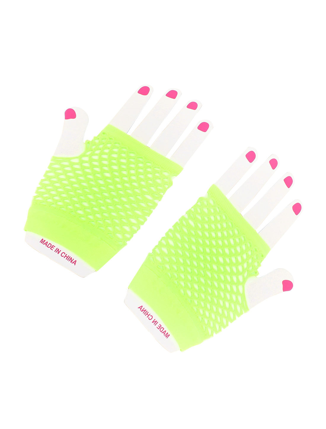 Lady Woman Yellow Green Elastic Mesh Net Fingerless Wrist Length Gloves Pair