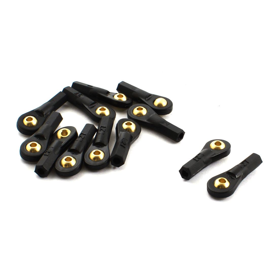 12Pcs 2.5X27X3mm Rod End Metal Ball Head Buckle Joints Black for RC Climbing Car