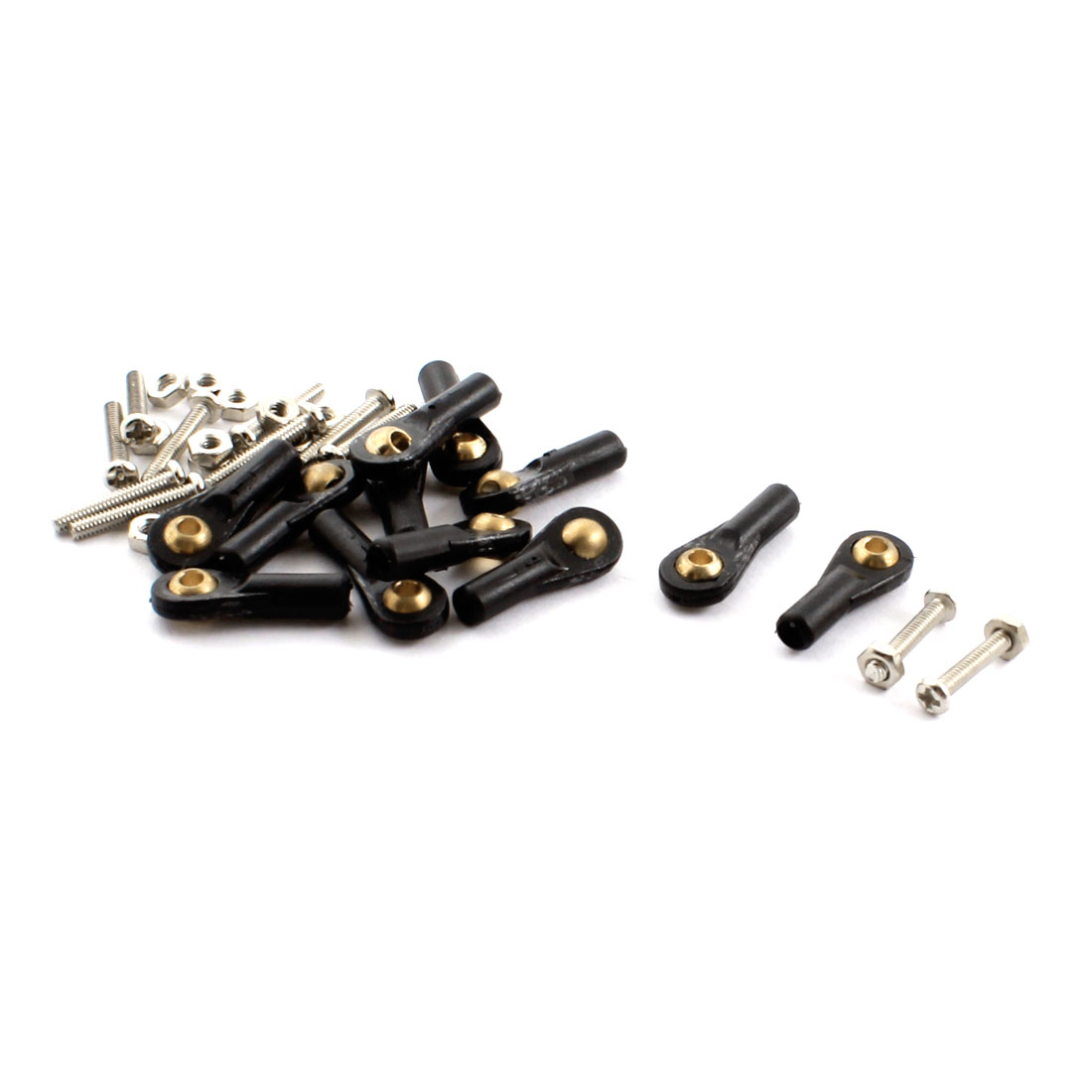 12Pcs RC Car Boat Black 2X18X2mm Rod End Metal Ball Head Buckle Joints Set w Screws