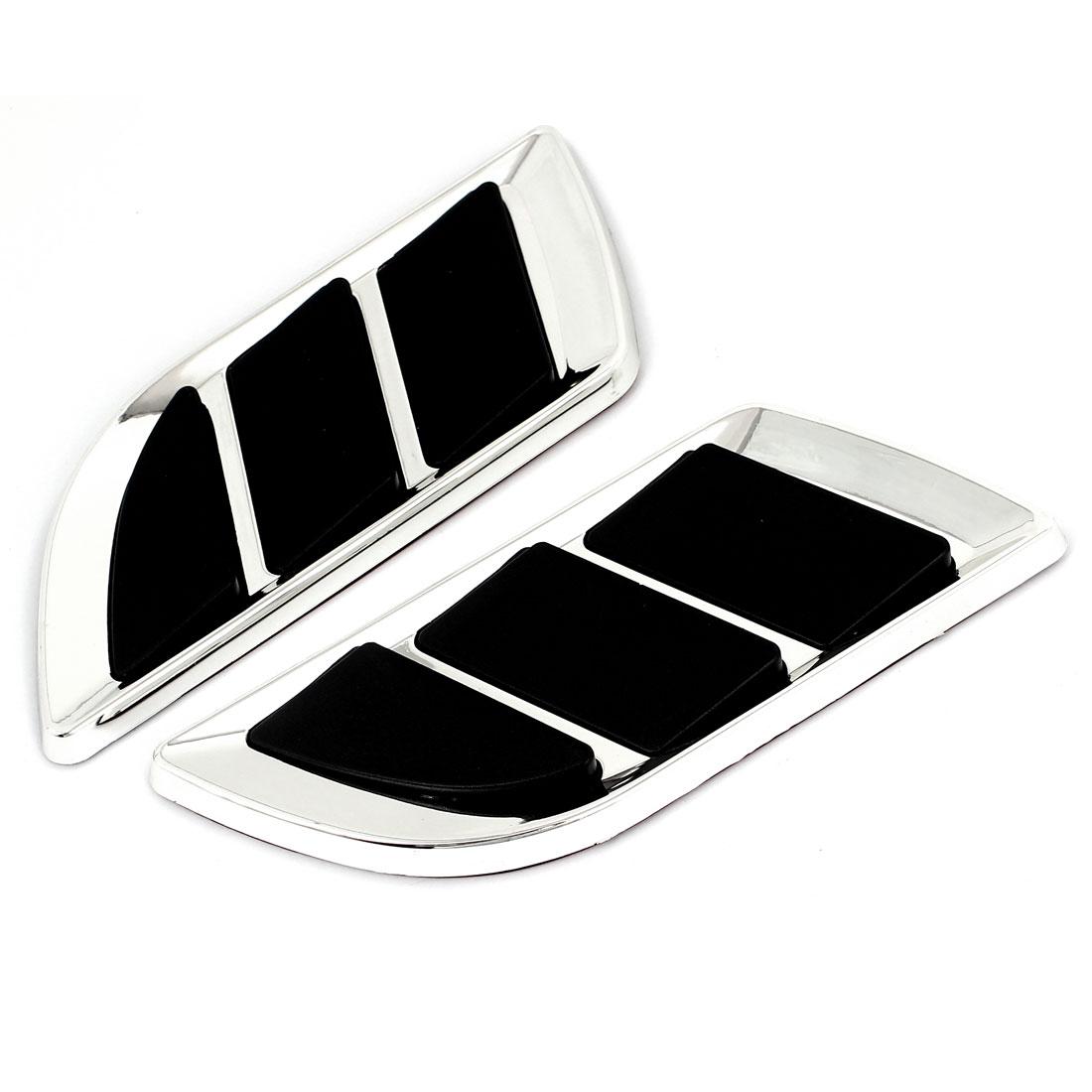 2 Pcs Black Silver Tone Plastic Air Flow Fender Sticker Decoration for Car Auto