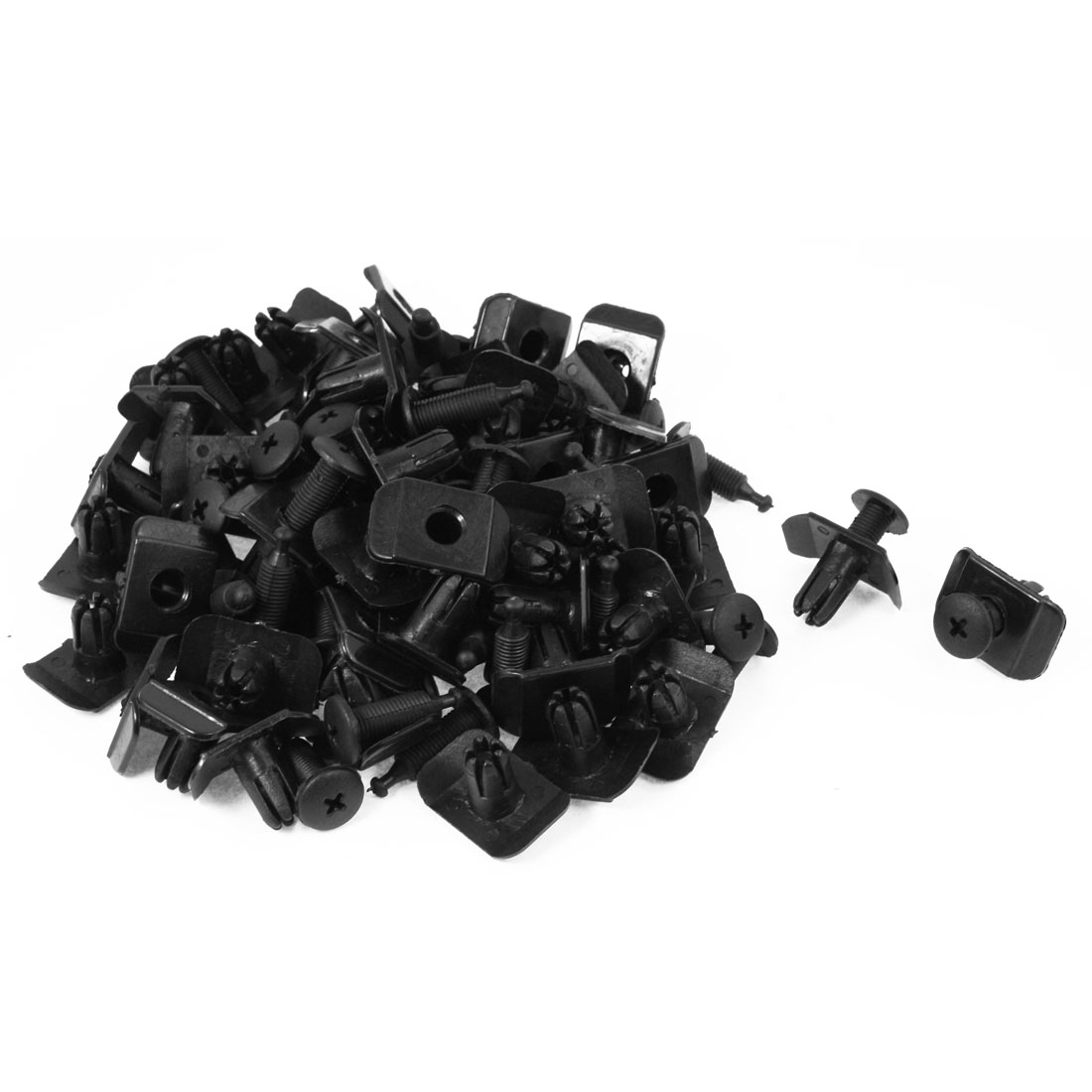 50 Pcs 10mm Hole Black Door Plastic Replacement Rivets Fastener for Car