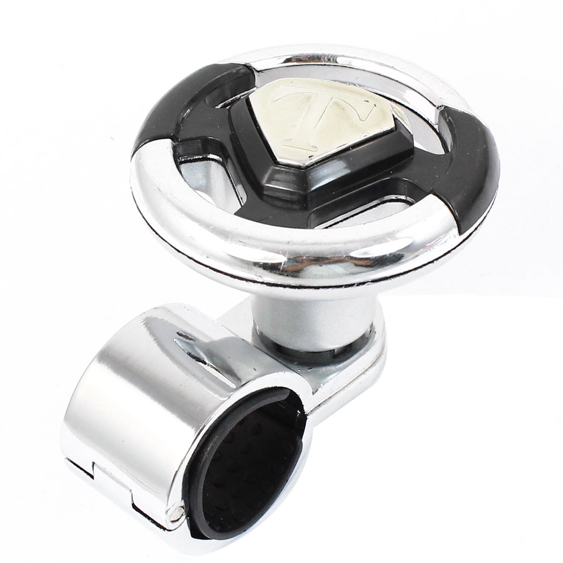 Vehicles Car Metal Plastic Steering Wheel Spinner Knob New Silver Tone Black