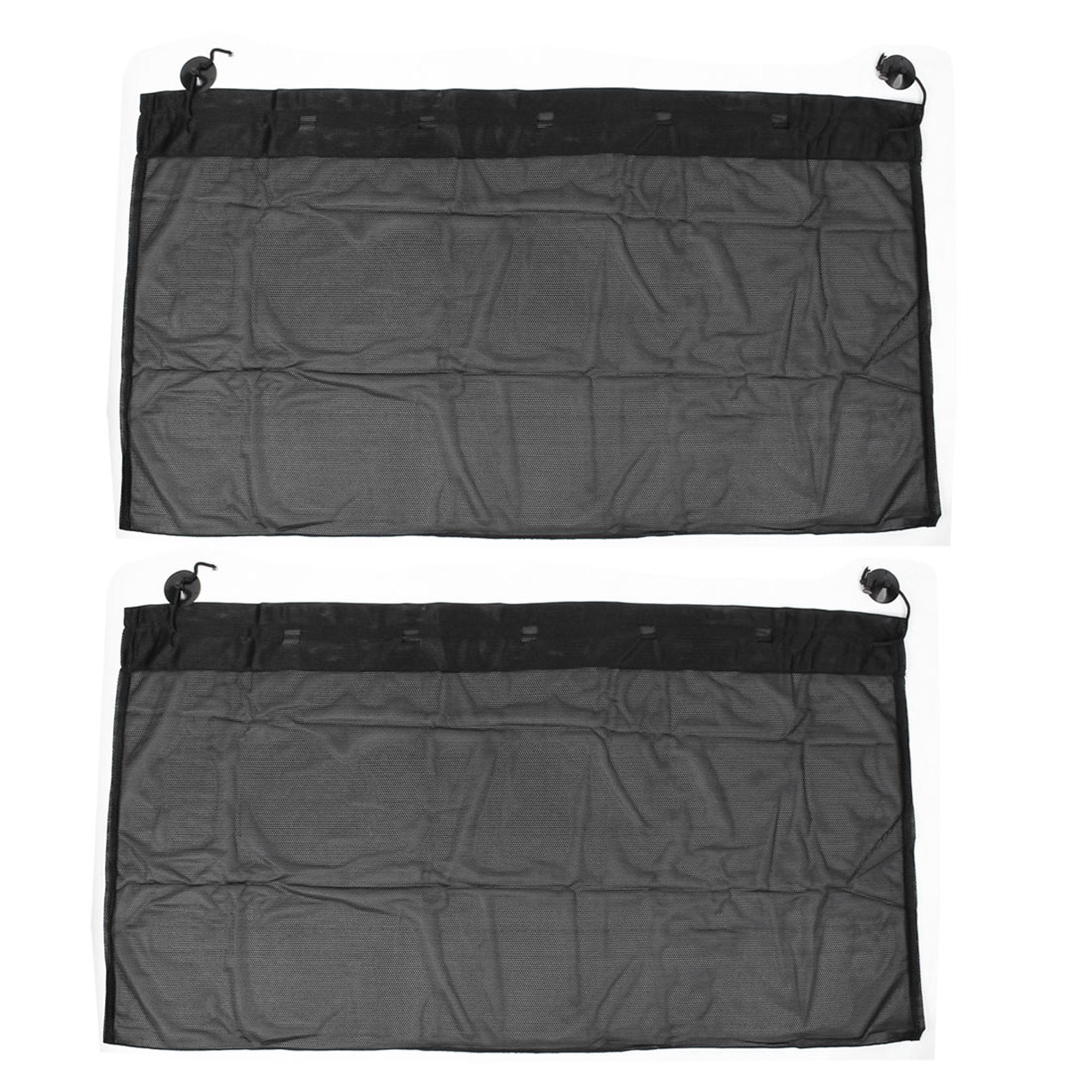 2 Pcs 100cm x 50cm Auto Car Window Side Folding Sun Shade Black Mesh