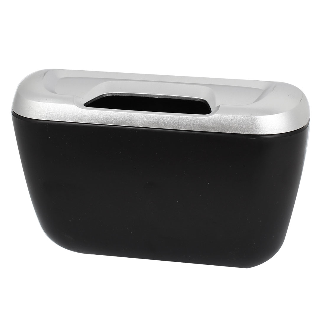 Vehicle Car Sliver Tone Black Cover Trash Bin Garbage Box