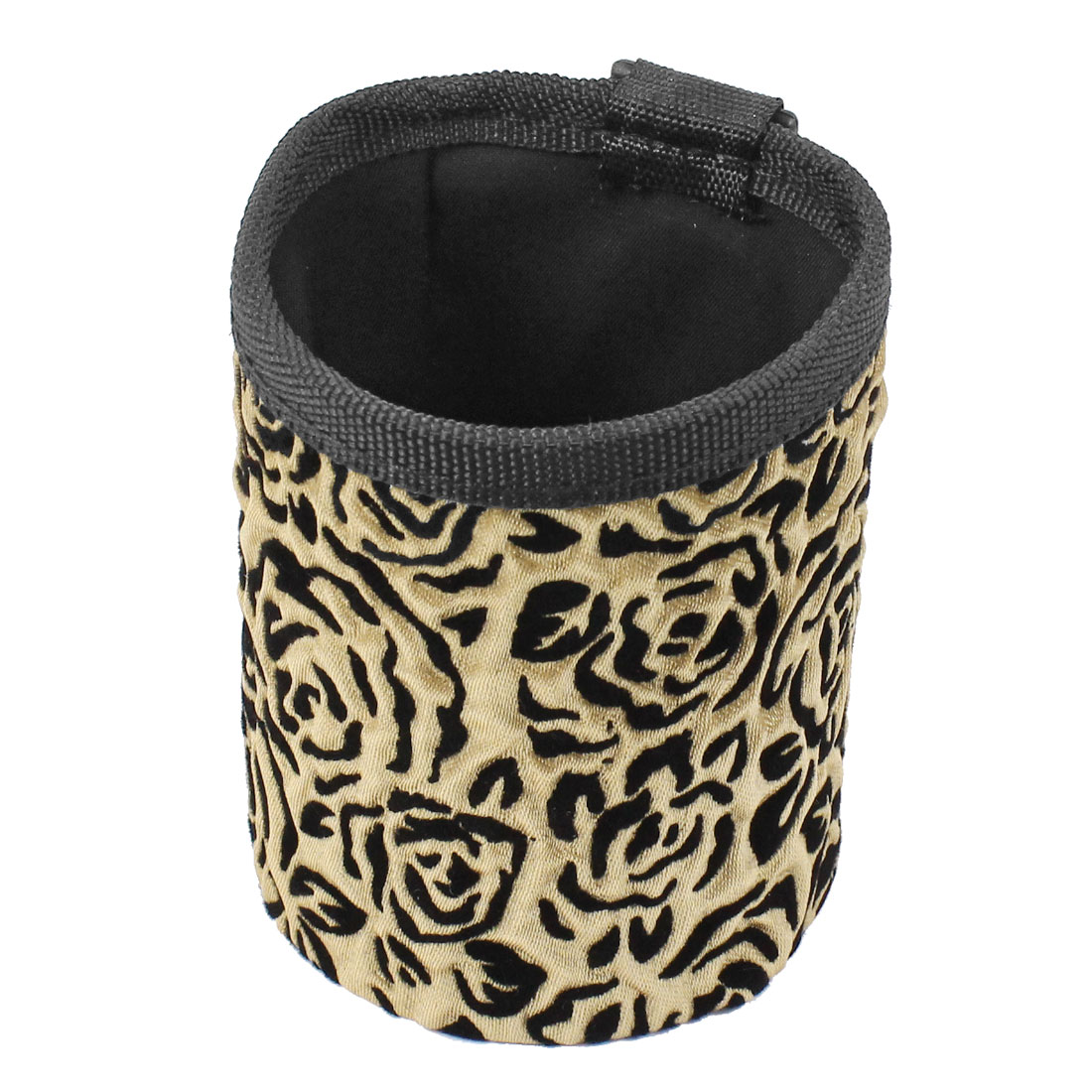 Gold Tone Black Flower Pattern Cylinder Shape Phone Pouch Holder