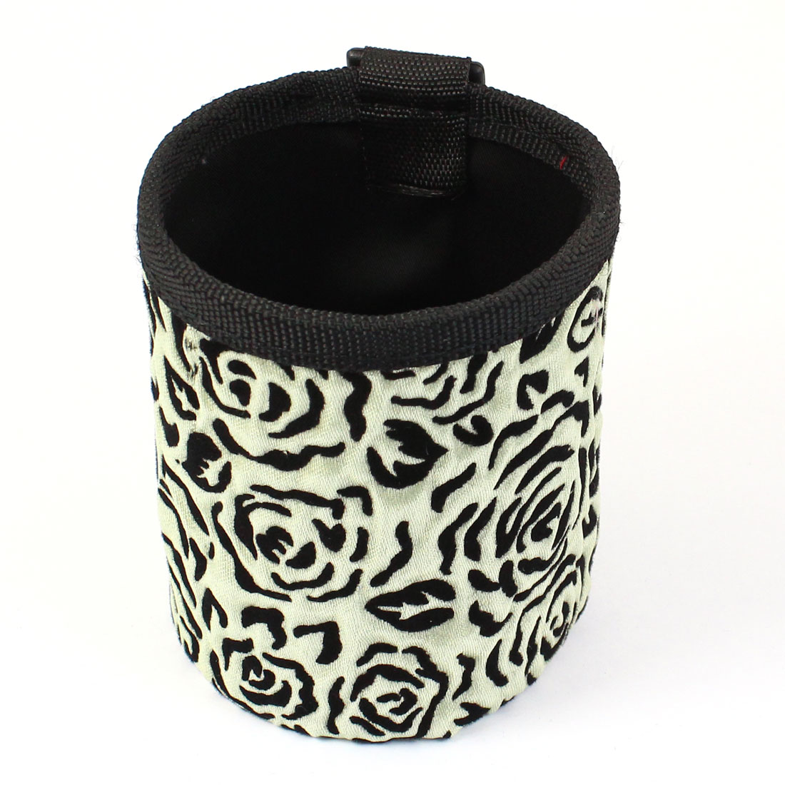 Brown Black Flower Prints Cylinder Shape Phone Pouch Holder w Air Vent Hook