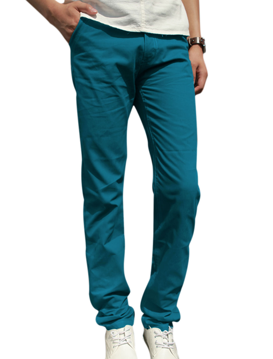 Men Button Closure Zip Fly Front Pockets Leisure Pants Turquoise W30