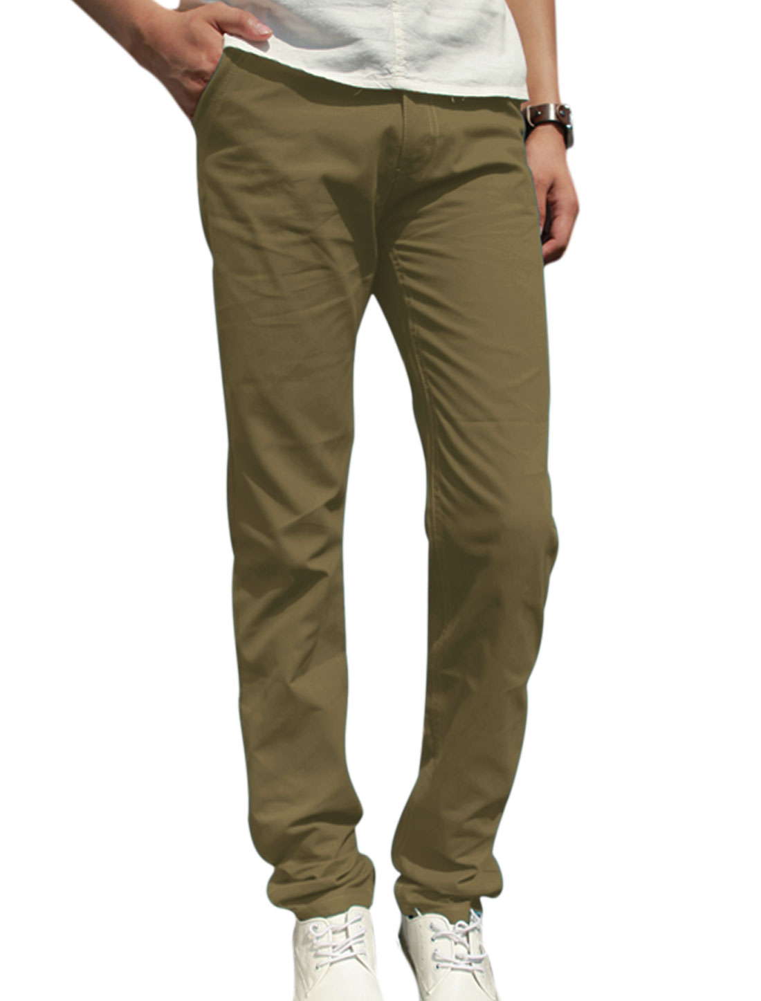 Men Button Closure Zip Fly Hip Pockets Casual Trousers Khaki W30