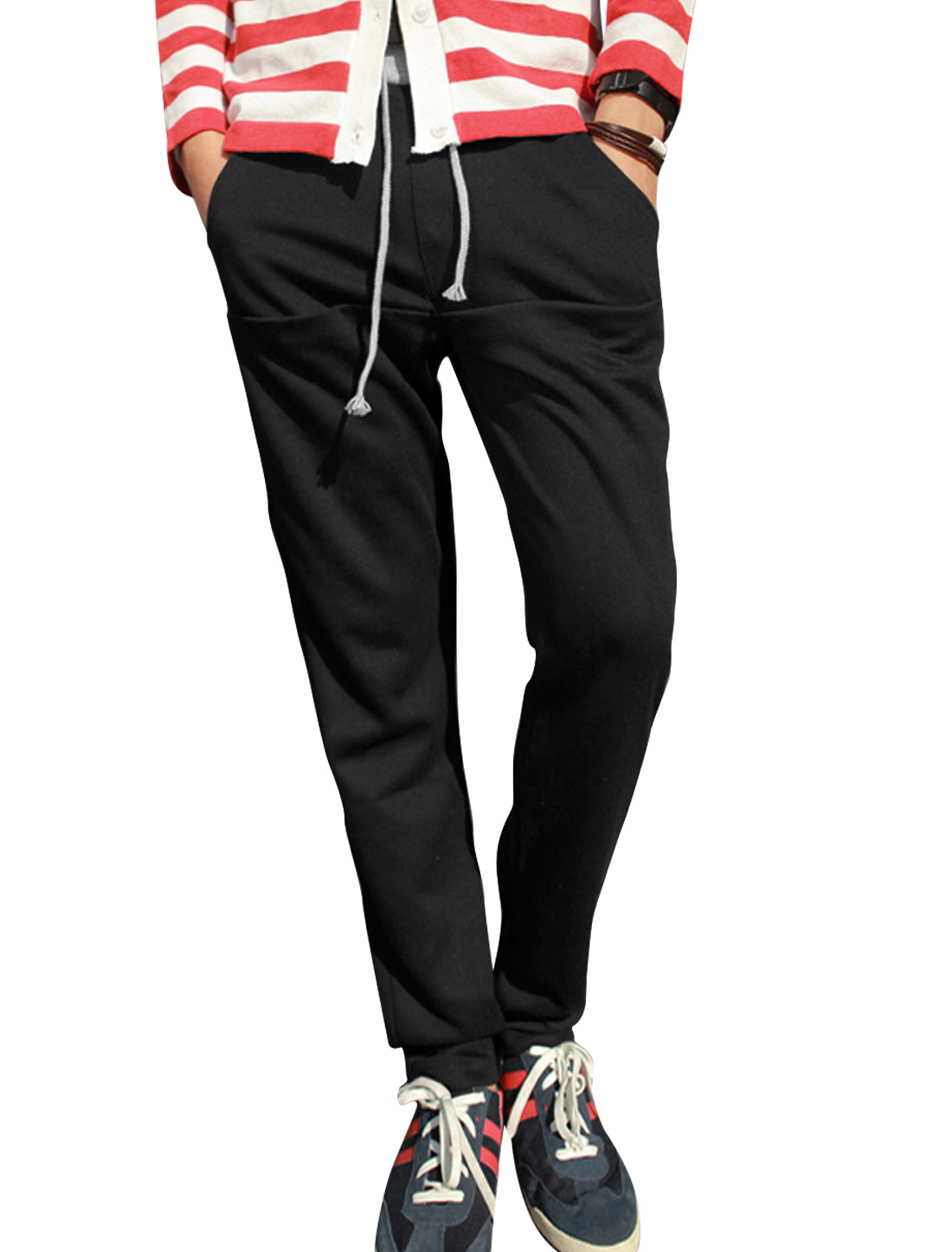 Men Elastic Waist w Drawstring Single Pocket Decor Back Casual Pants Black W30