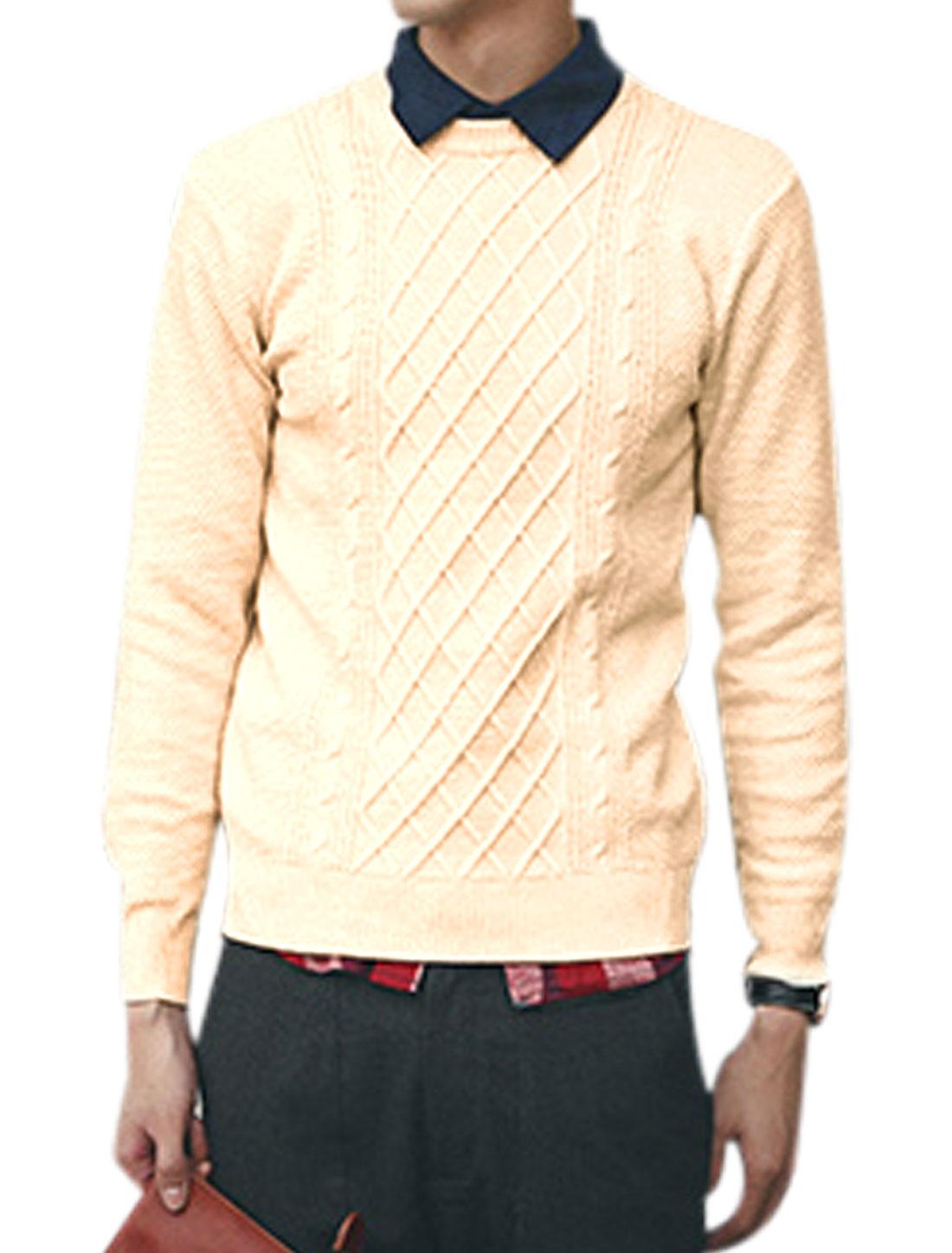 Crew Neck Argyle Design Ribbed Trim Casual Sweater for Men Beige S