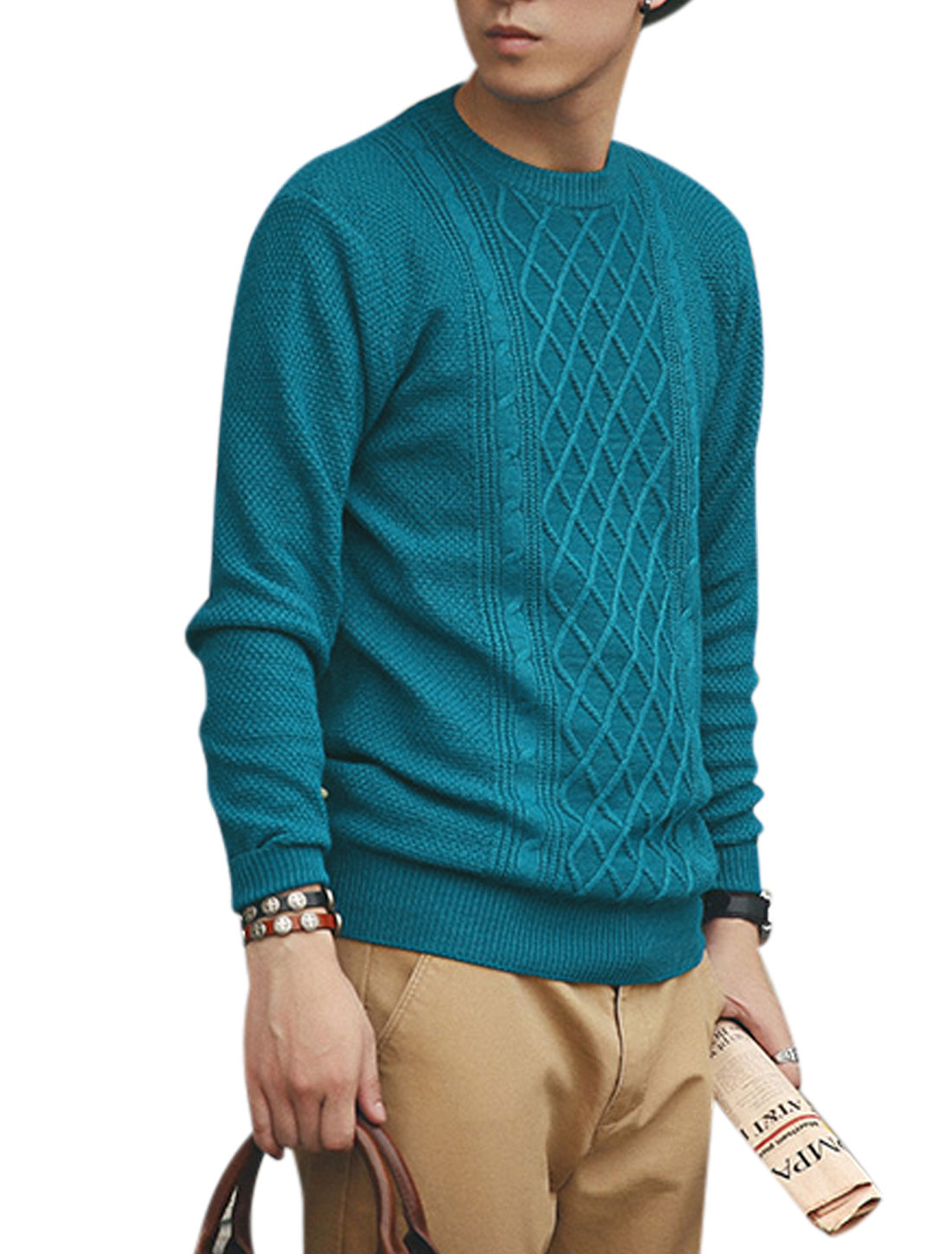 Long Sleeves Argyle Design Ribbed Trim Casual Sweater for Men Blue S