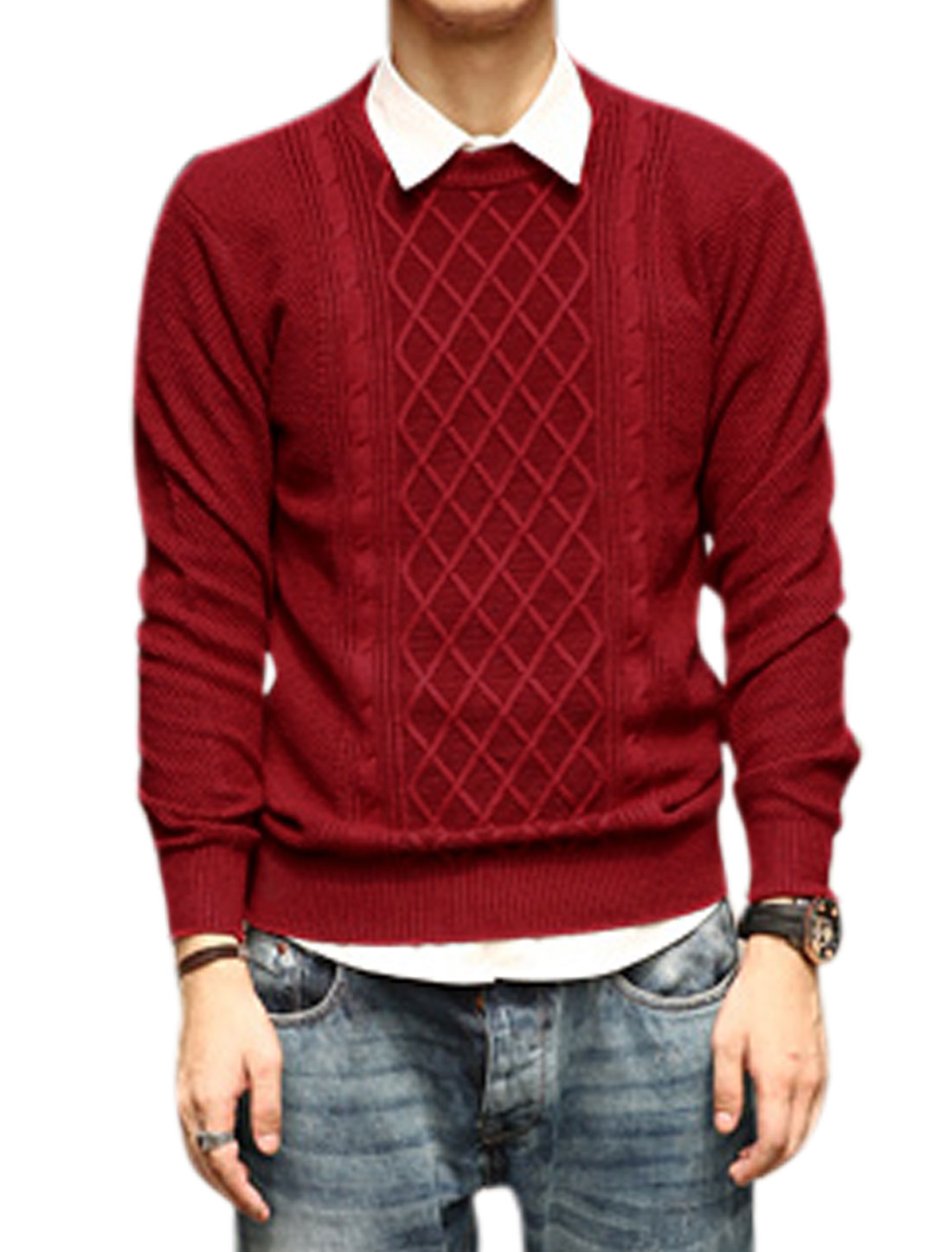 Long Sleeves Argyle Design Ribbed Cuffs Casual Sweater for Men Burgundy S