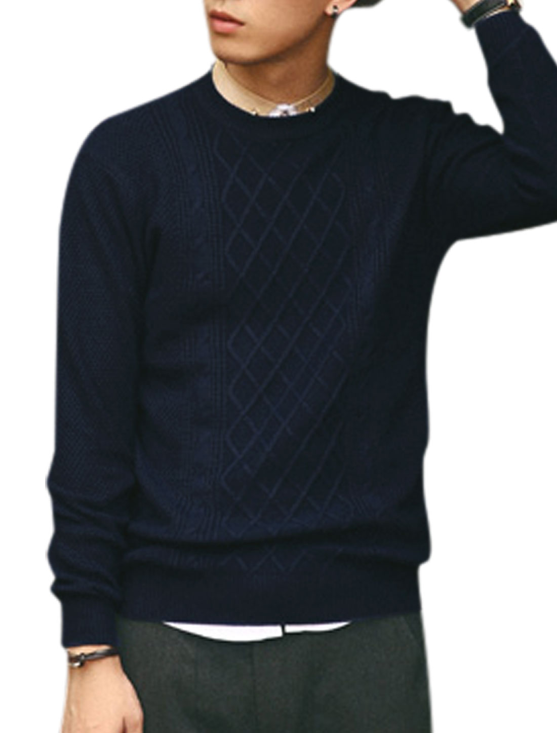 Long Sleeves Argyle Design Ribbed Hem Casual Sweater for Men Navy Blue S