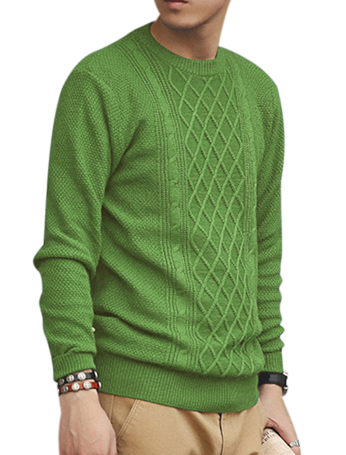 Long Sleeves Argyle Design Ribbed Trim Stylish Sweater for Men Light Green S