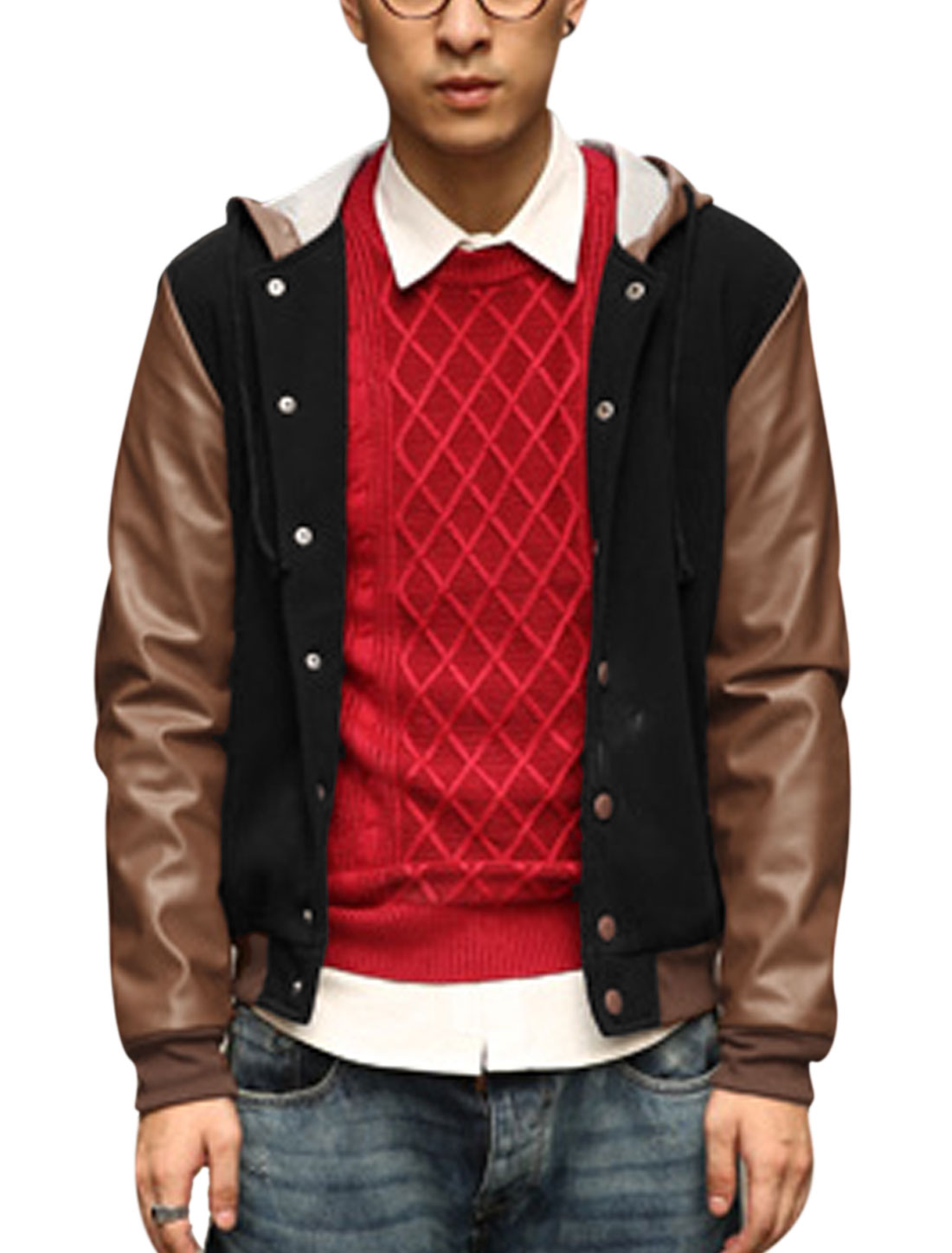 Men Imitation Leather Spliced Hooded Front Pockets Casual Jacket Black Brown M