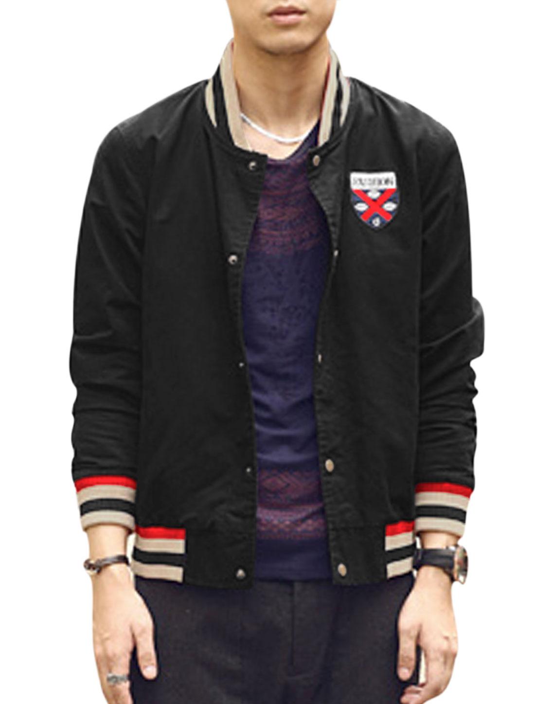 Men Rib Knit Collar Slant Pockets Badge Applique Casual Canvas Jacket Black M