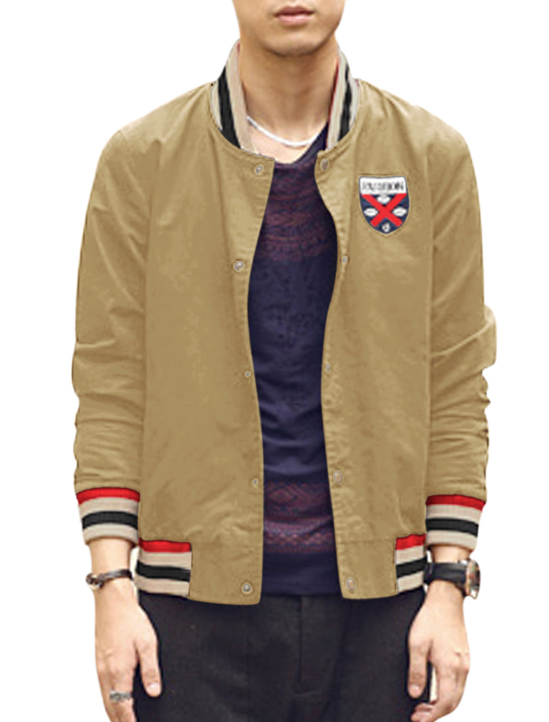 Men Ribbed Cuffs Map Pattern Lining Badge Applique Canvas Jacket Khaki M