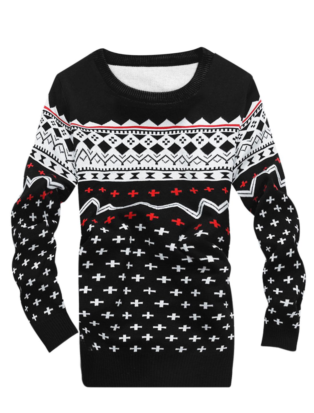 Men Geometric Pattern Long Sleeves Crew Neck Sweater Black S