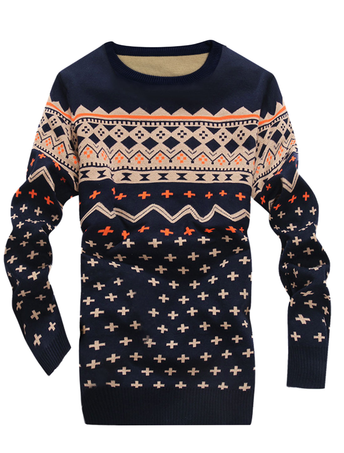 Man Zig-zag Pattern Pullover Slim Fit Navy Blue Sweater S