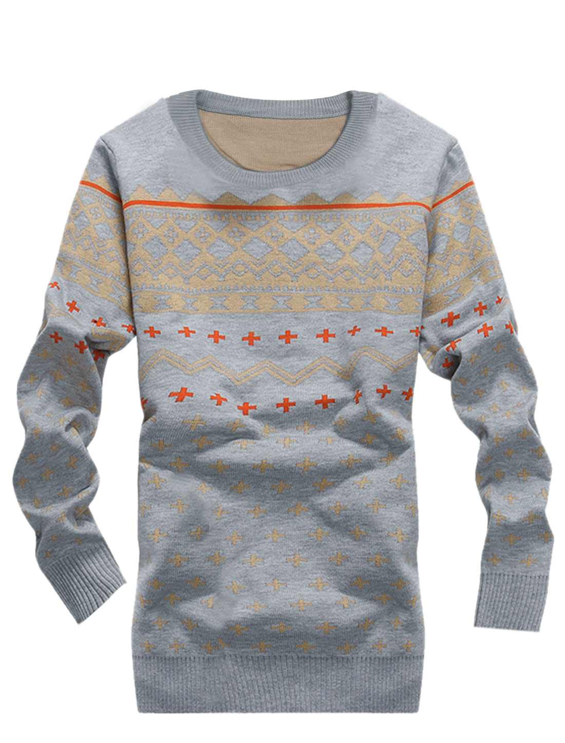 Plus Sign Pattern Slipover Slimt Fit Light Gray Sweater for Men S