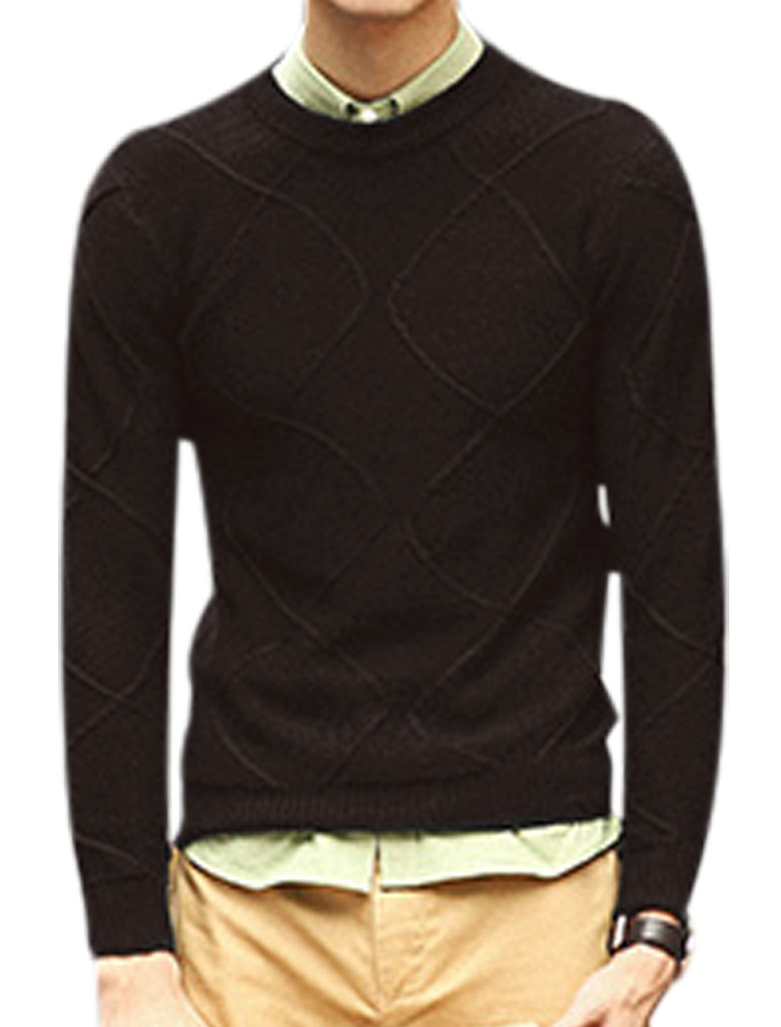 Men Crew Neck Argyle Design Ribbed Trim See Through Casual Sweater Coffee M
