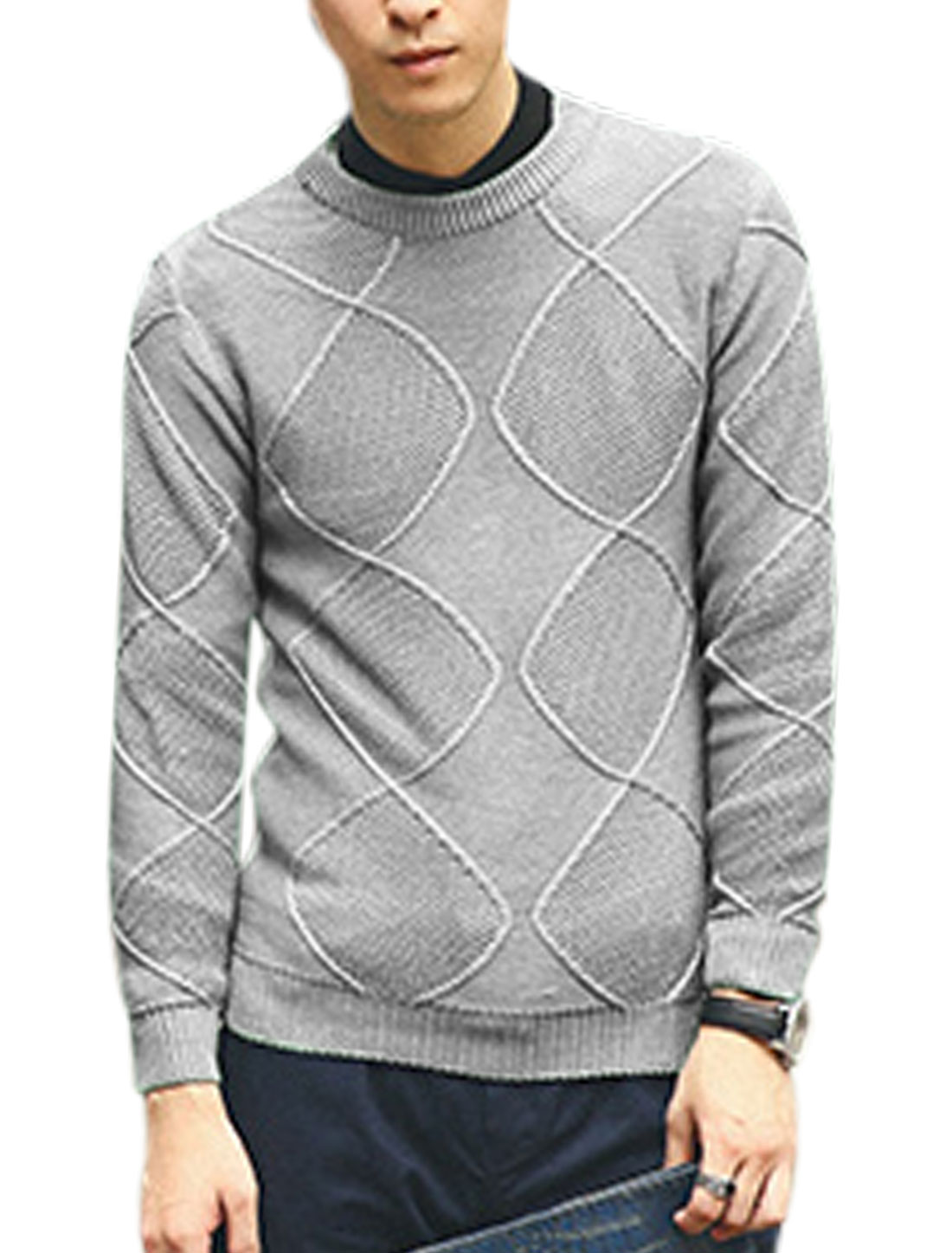 Men Crew Neck Argyle Design Ribbed Cuffs See Through Casual Sweater Light Gray M