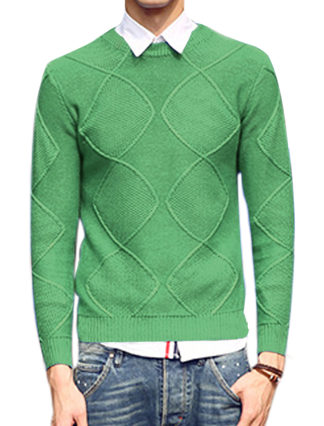 Men Crew Neck Argyle Design Ribbed Cuffs Fashion Sweater Light Green M
